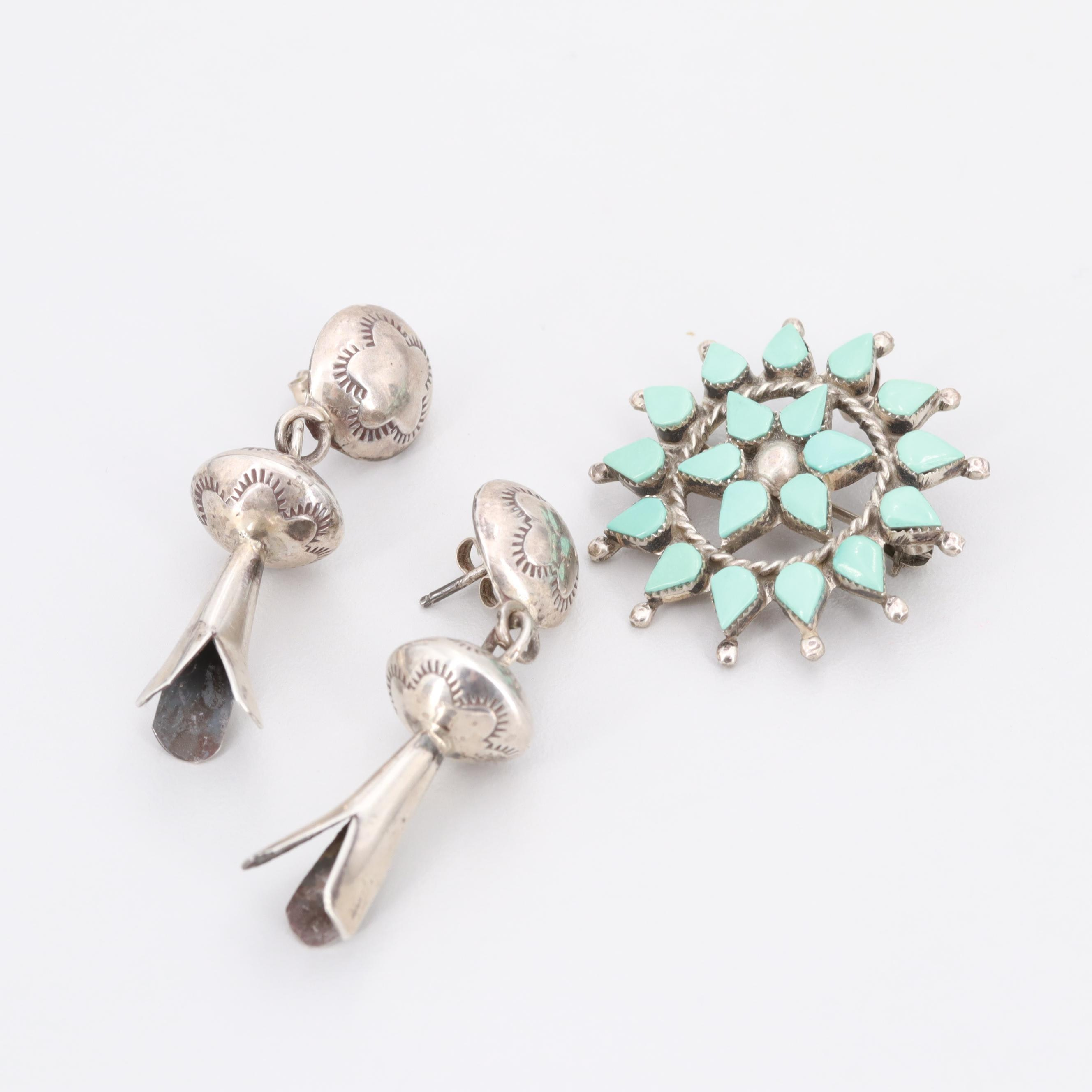 Southwestern Style Sterling Silver Turquoise Converter Brooch and Earrings