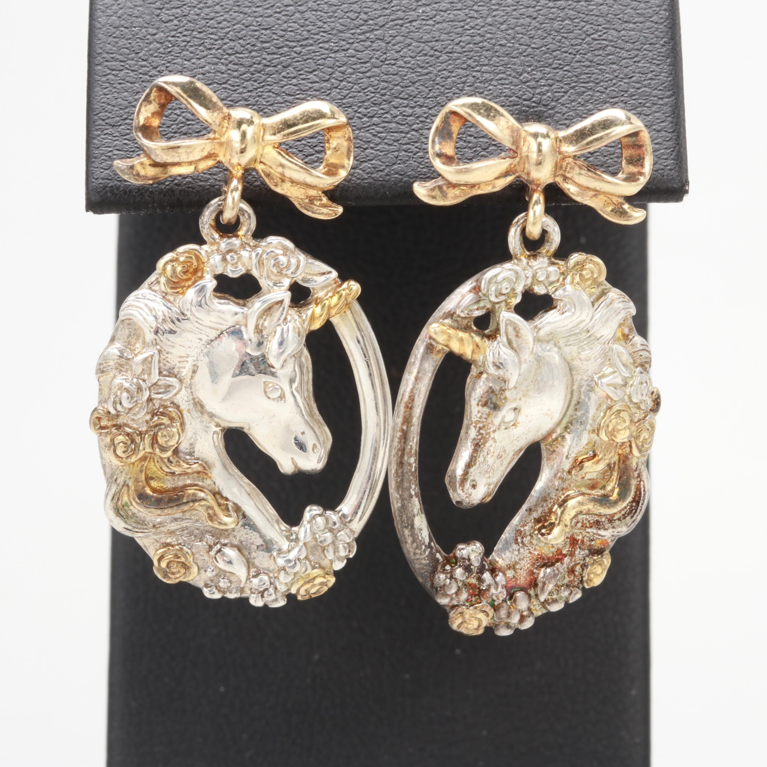 Gorham Sterling Silver Repoussé Unicorn and Bow Motif Earrings