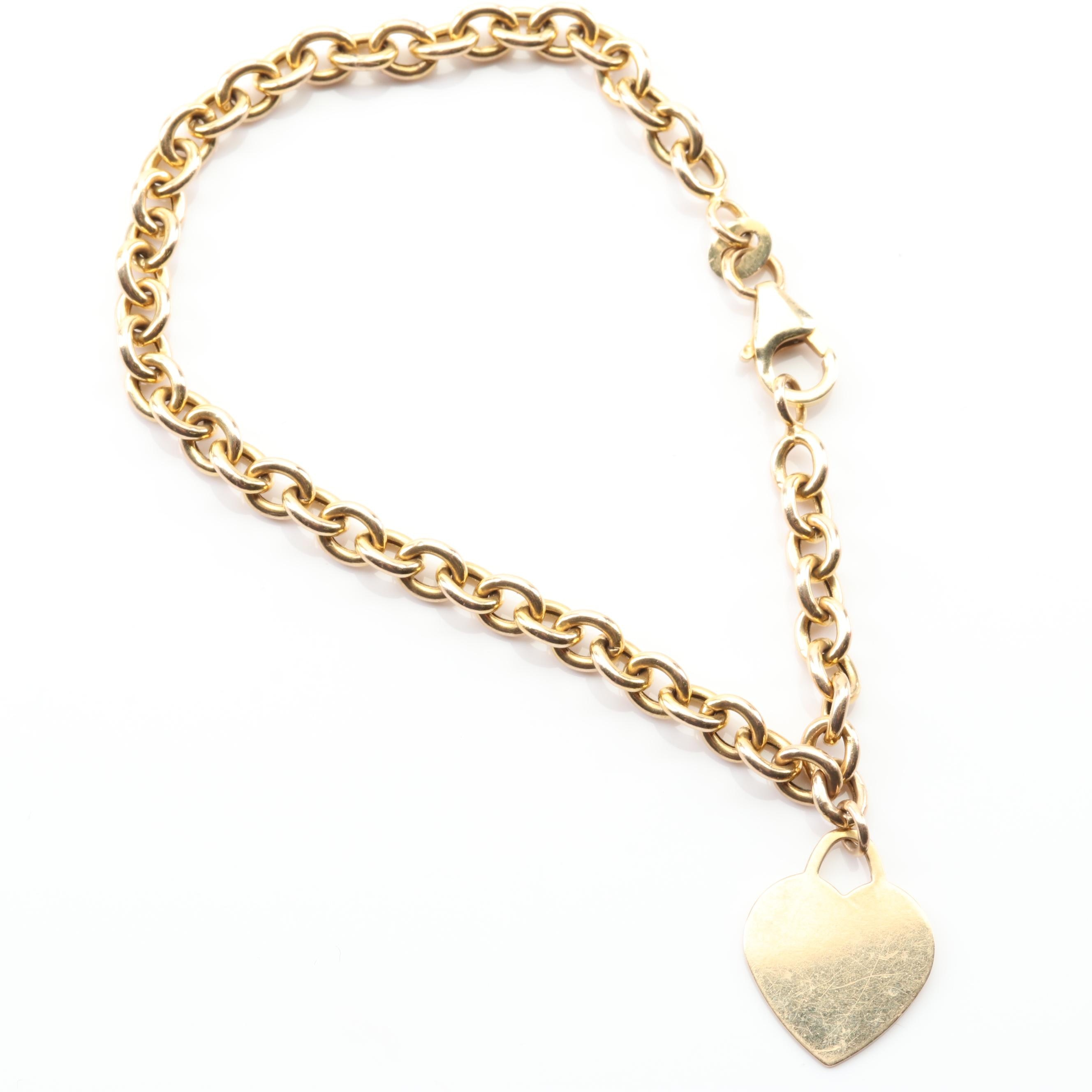 14K Yellow Gold Link Bracelet with Heart Charm Dangle