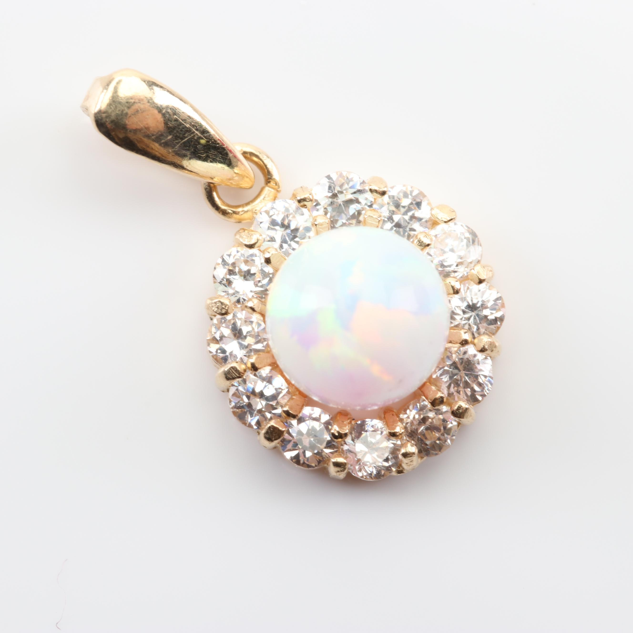 14K Yellow Gold Simulated Opal and Cubic Zirconia Halo Pendant