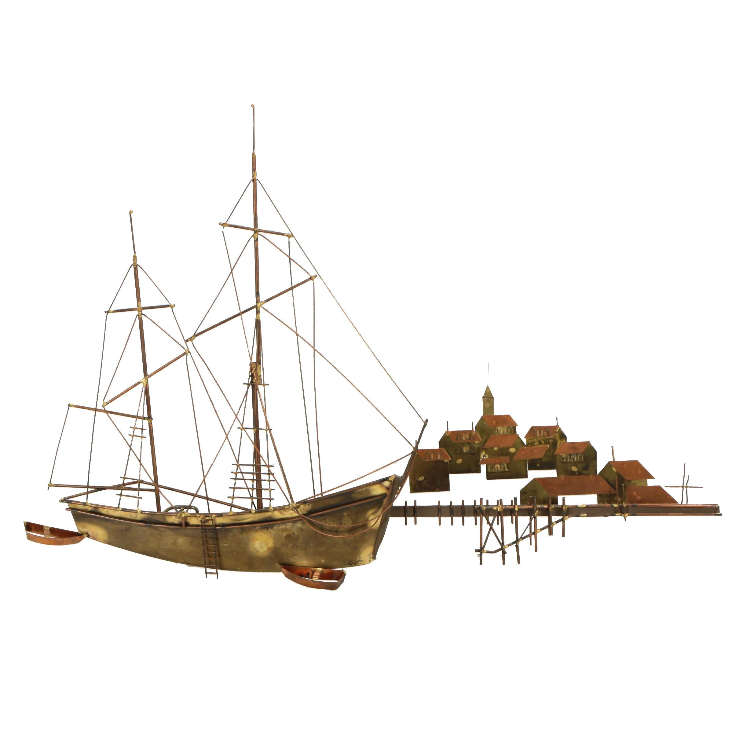 Curtis Jeré Soldered Metal Ship and Village Wall Sculpture