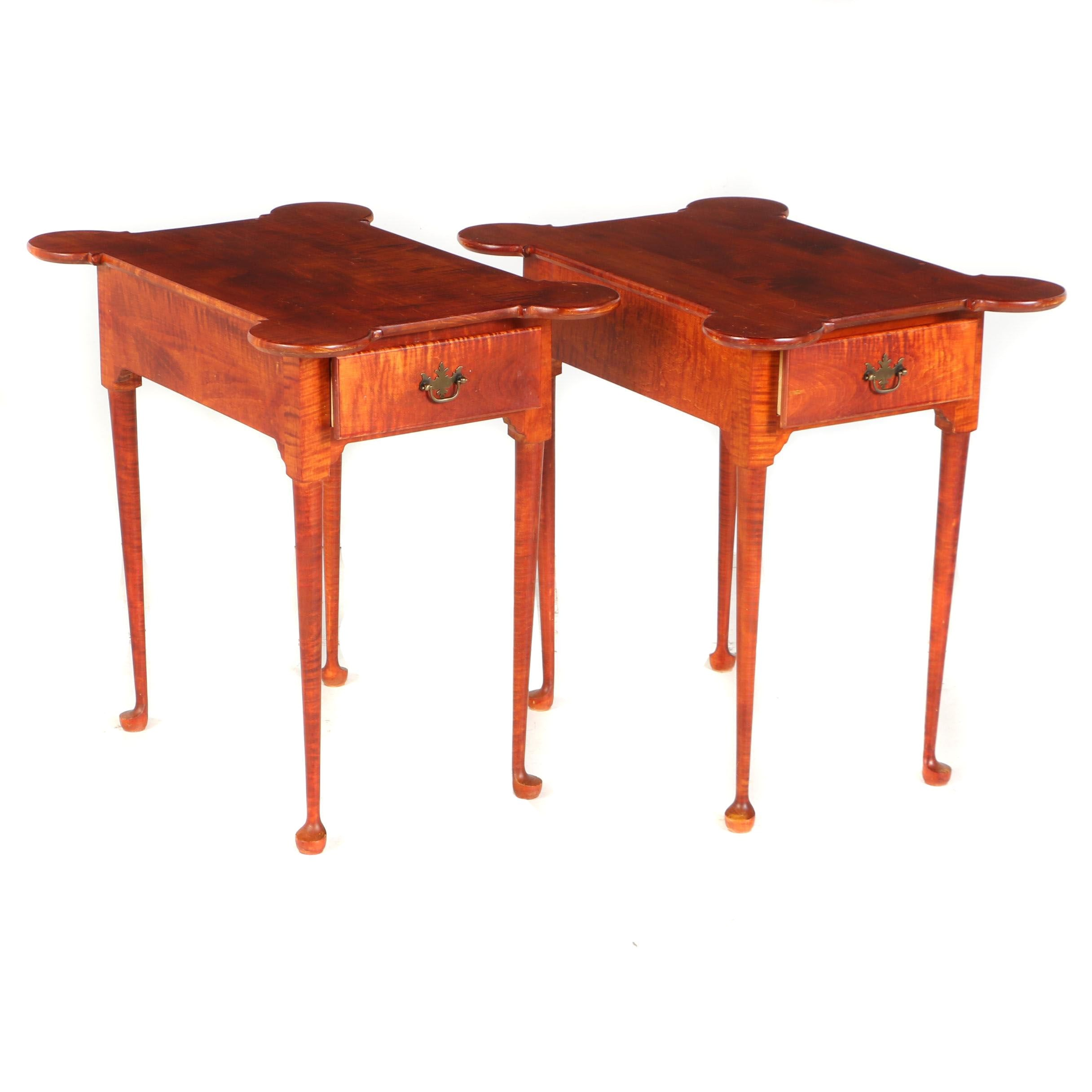 Pair of Contemporary Queen Anne Style Tiger Maple Bench-Made Side Tables