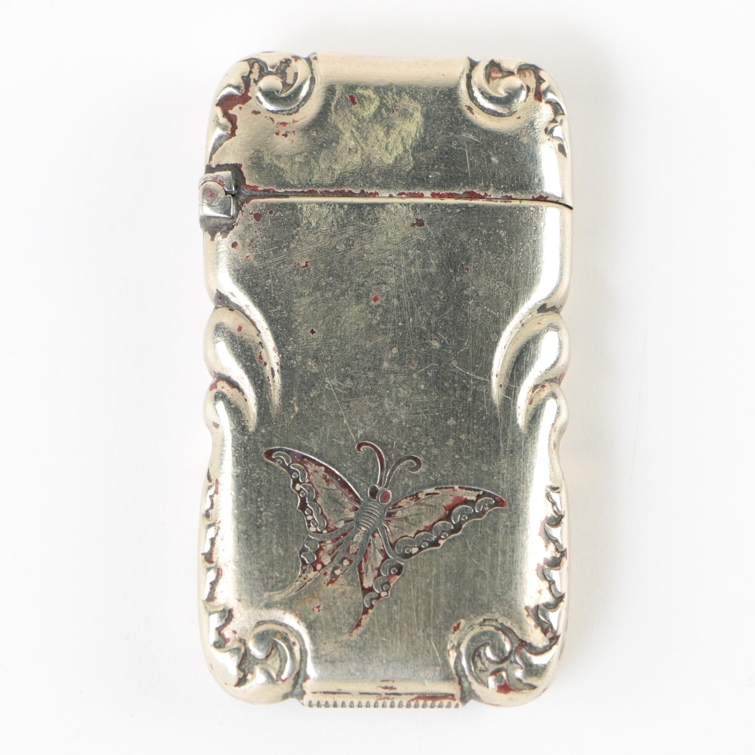 German Match Case with Butterfly Emblem, Late 19th/Early 20th Century