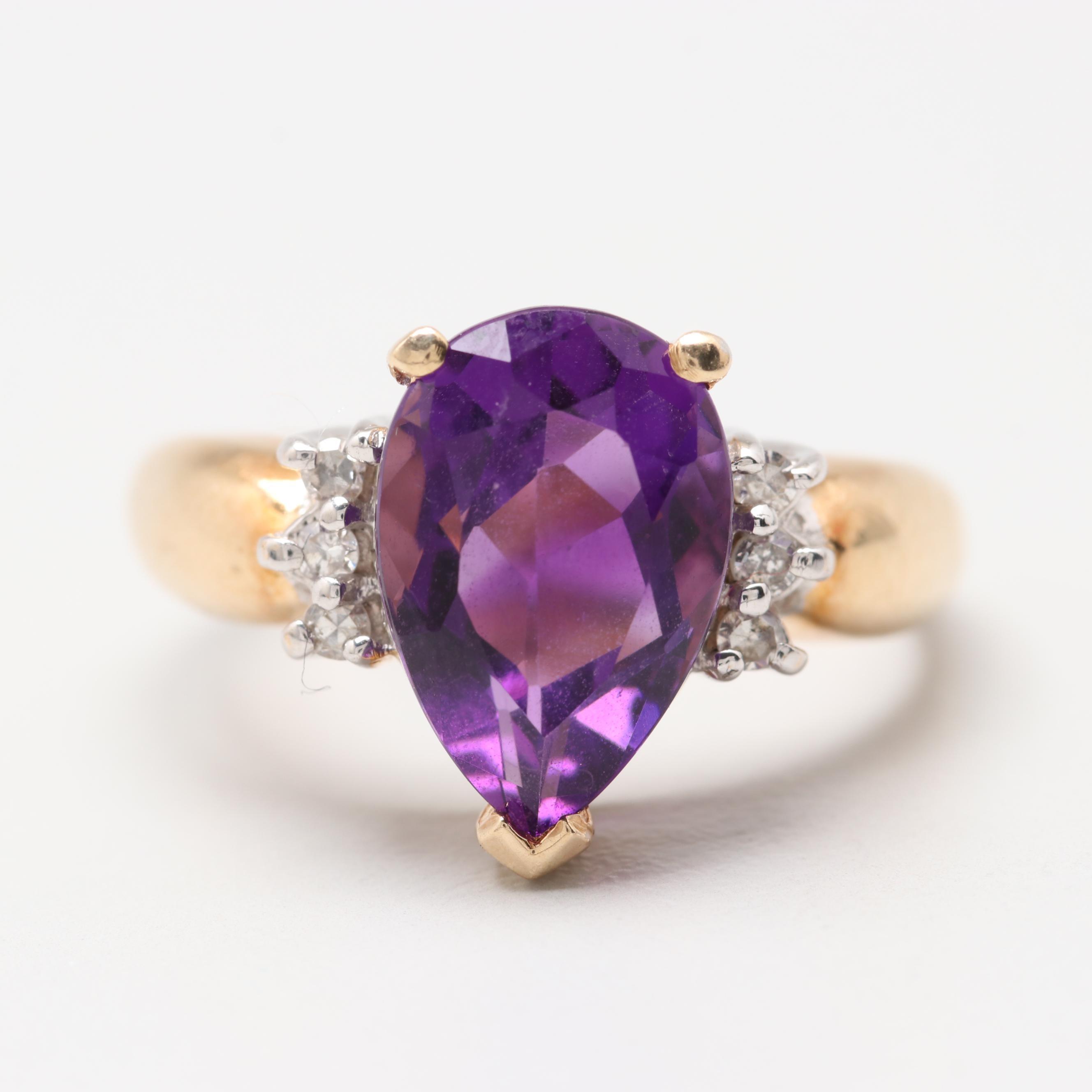 14K Yellow Gold Amethyst and Diamond Ring