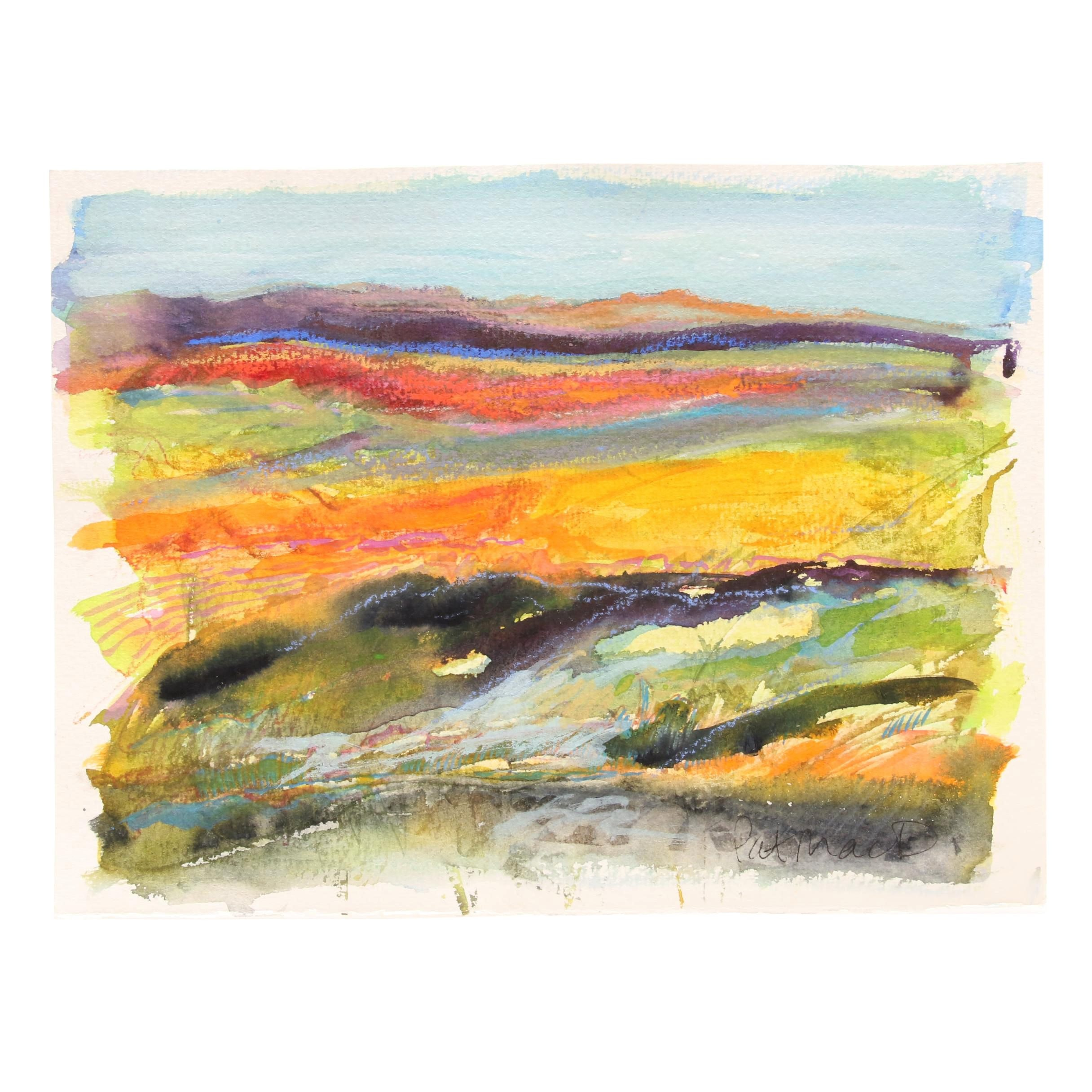 Pat MacDonald Abstract Watercolor and Pastel Landscape Painting