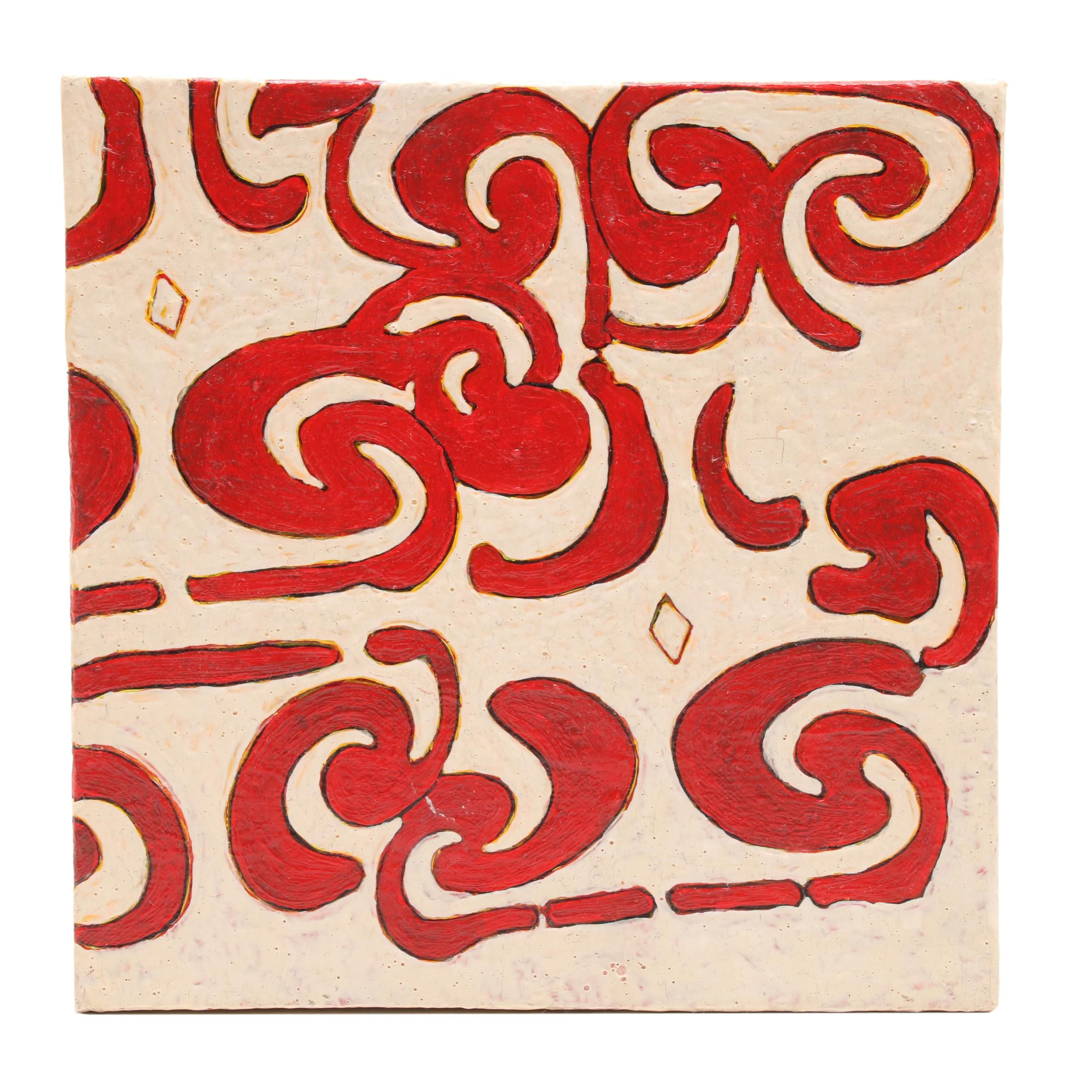 "Frank Hermann Acrylic Painting on Canvas ""Motif Cutout #5"""