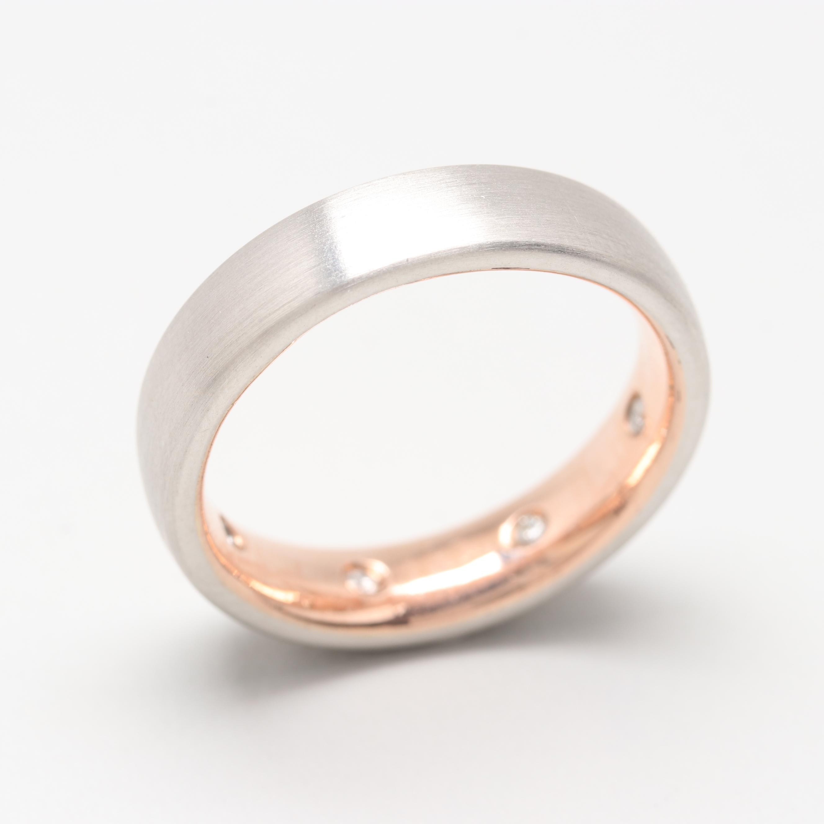 Platinum and 14K Rose Gold Diamond Ring