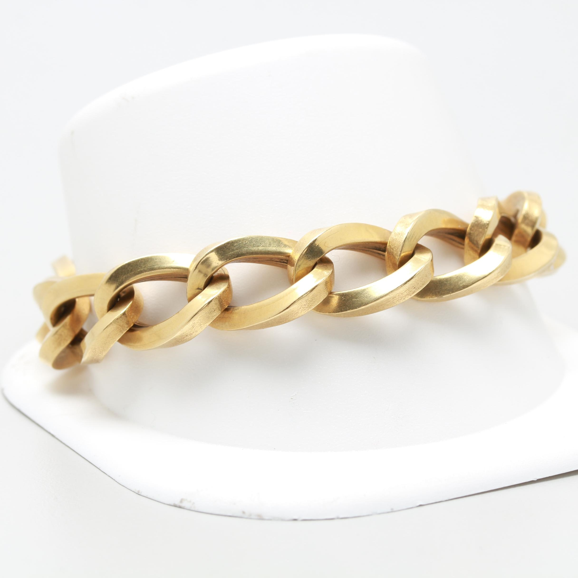 18K Yellow Gold Curb Chain Bracelet