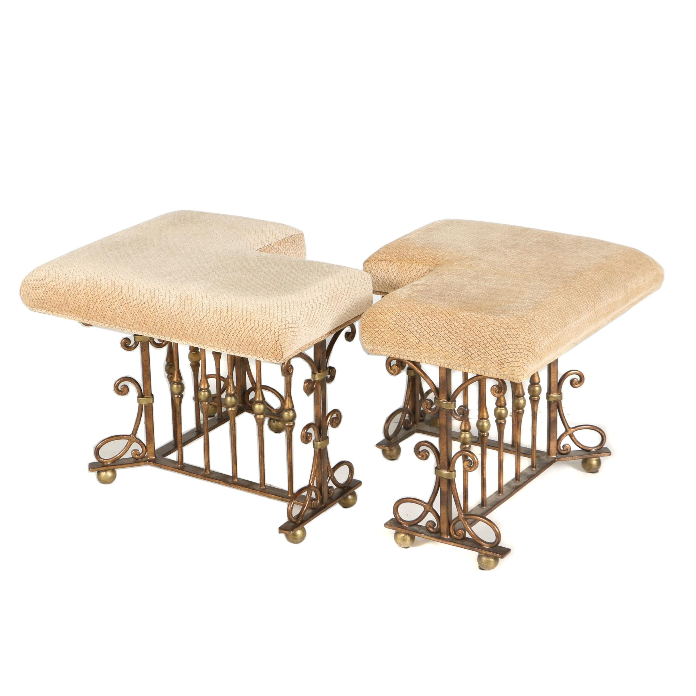 Pair of Bronze-Painted and Parcel-Gilt Metal Hearth Stools, 20th Century