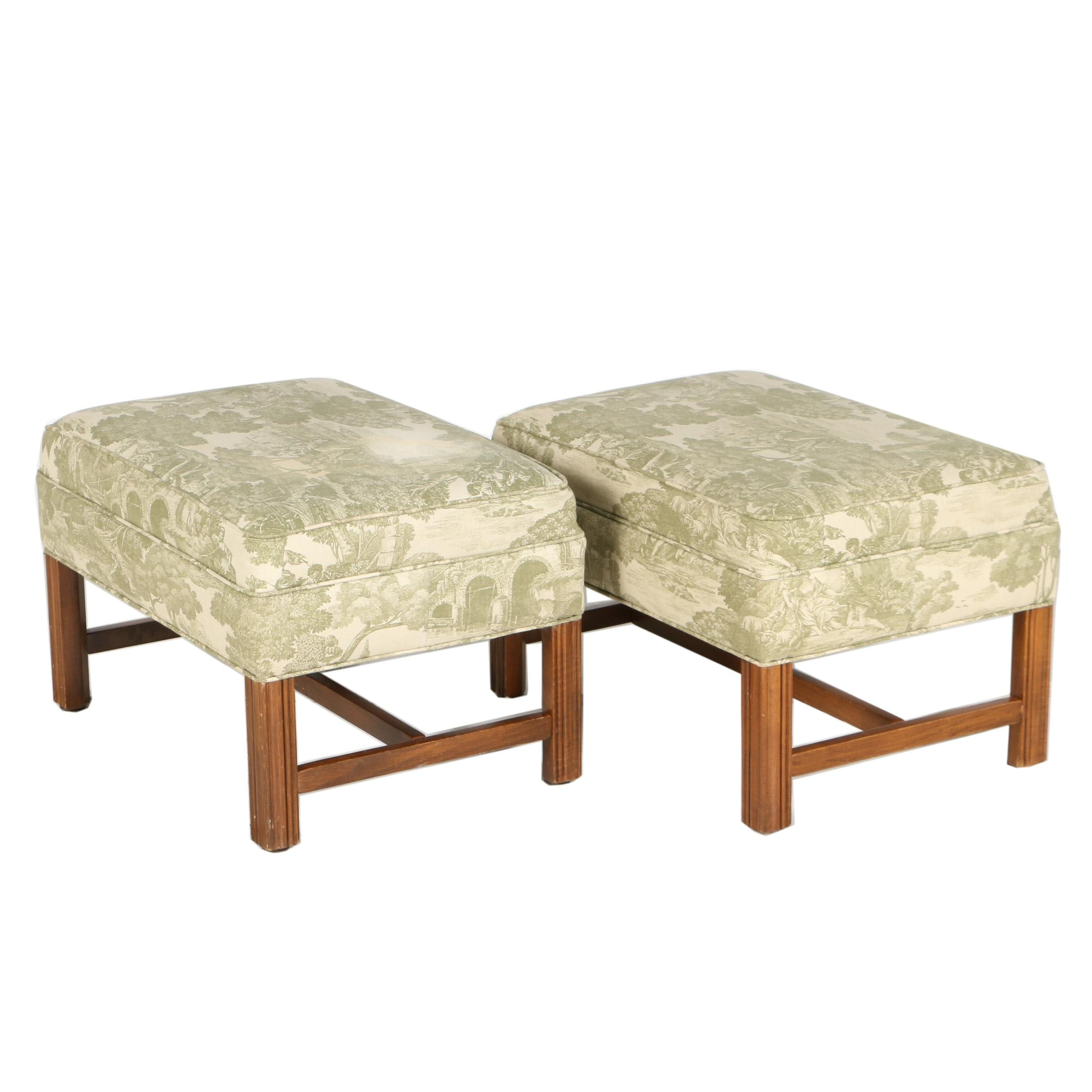 Pair of George III Style Mahogany-Stained Footstools, 20th Century