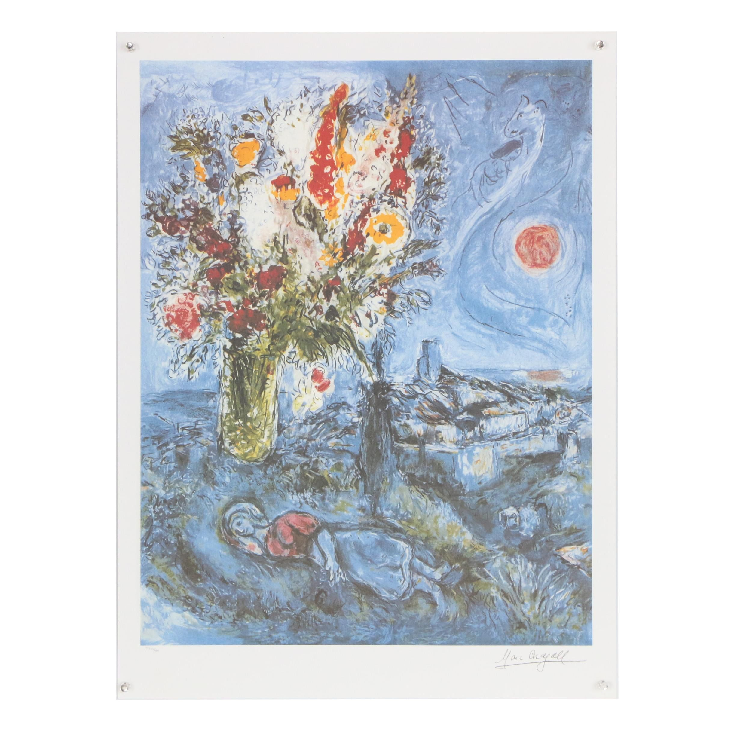 """Offset Lithograph after Marc Chagall """"La Dormeuse Aux Fleurs"""""""