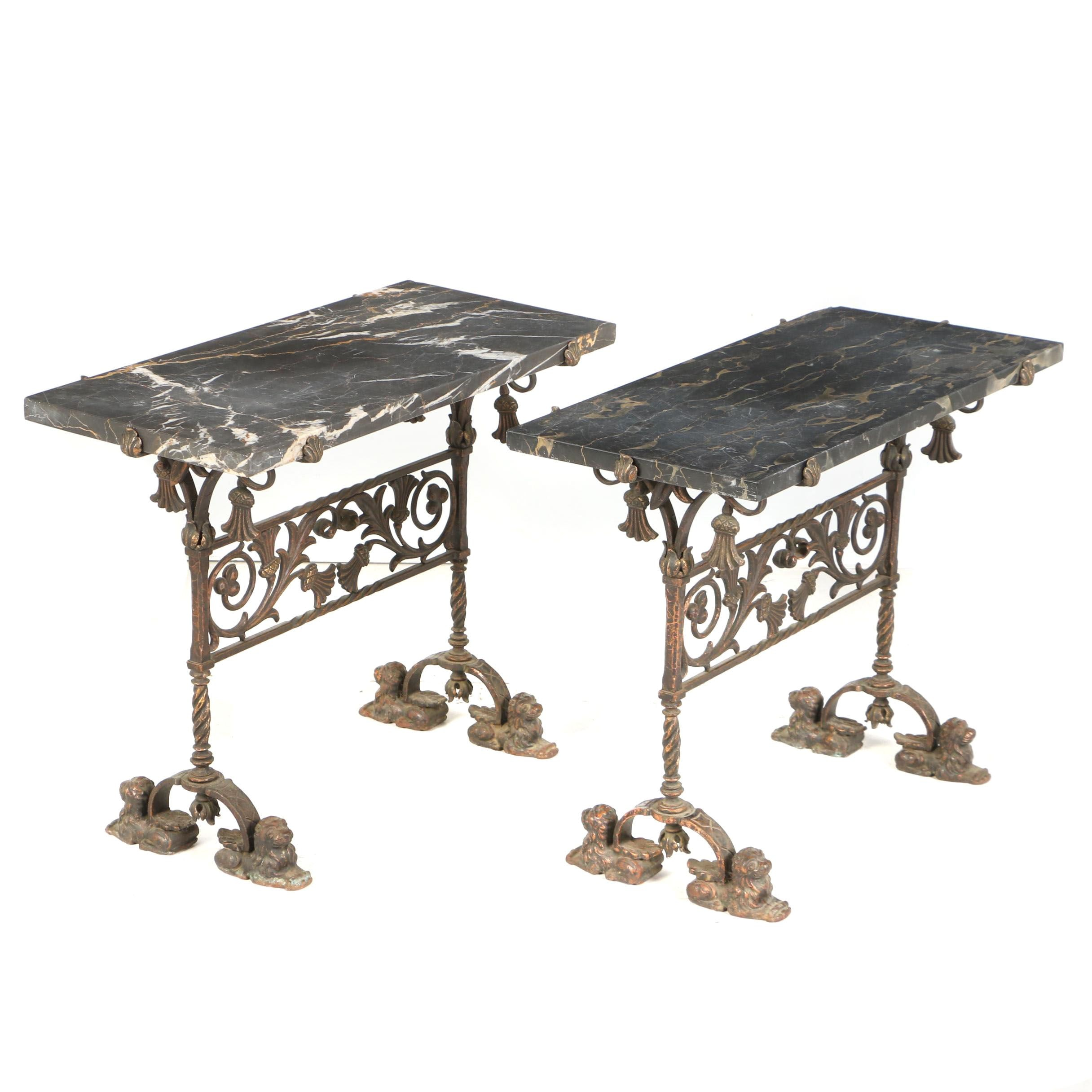 Pair of Iron, Brass, and Black Marble Side Tables, Early 20th Century