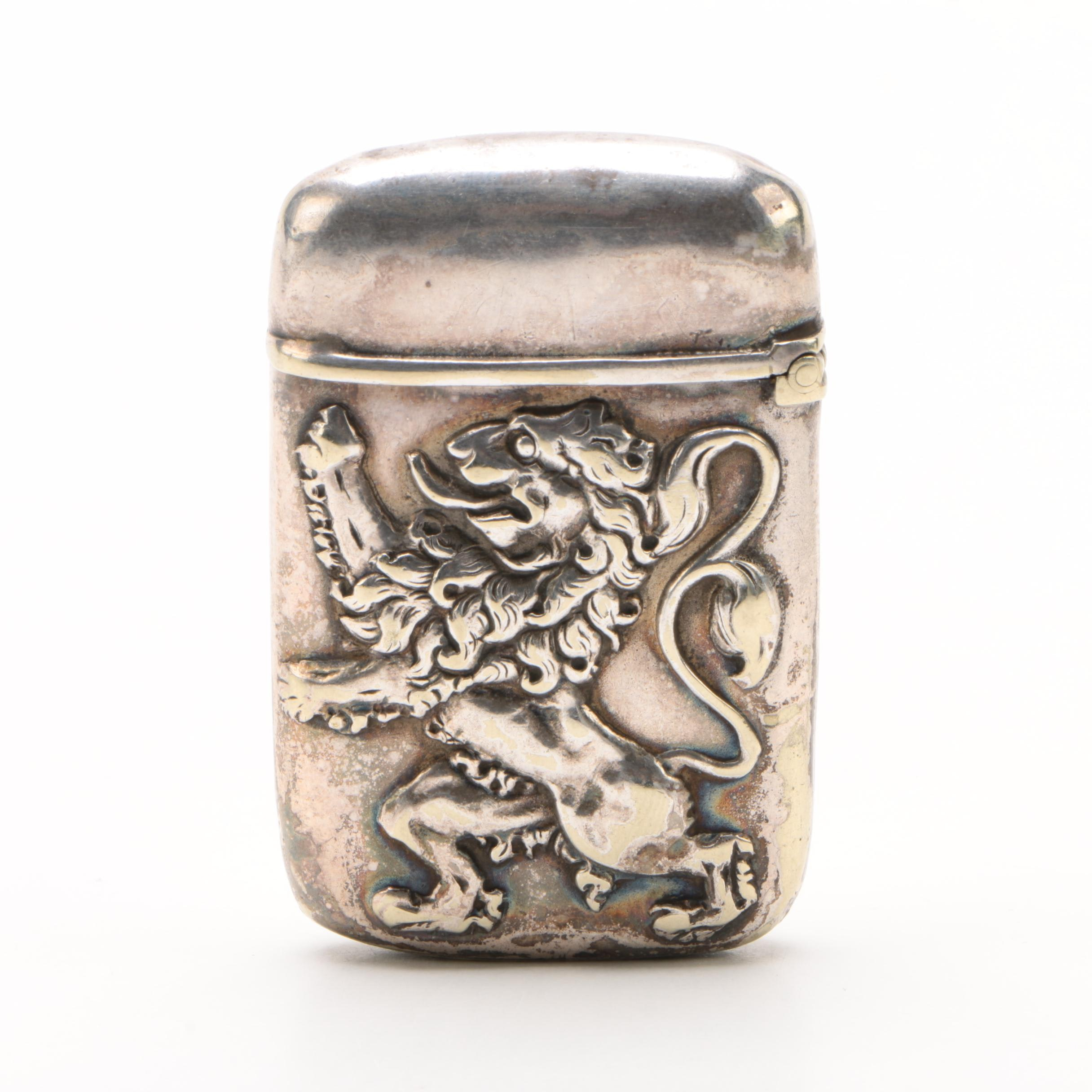 Silver Plate Vesta with Heraldic Rampant Lion Emblem, Early 20th Century
