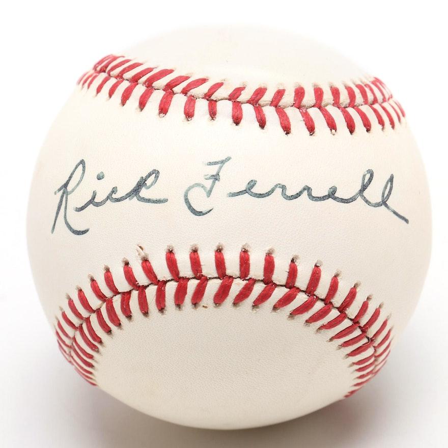 cfc4b7ffd96 (HOF) Rick Ferrell Signed Rawlings AL Baseball   EBTH