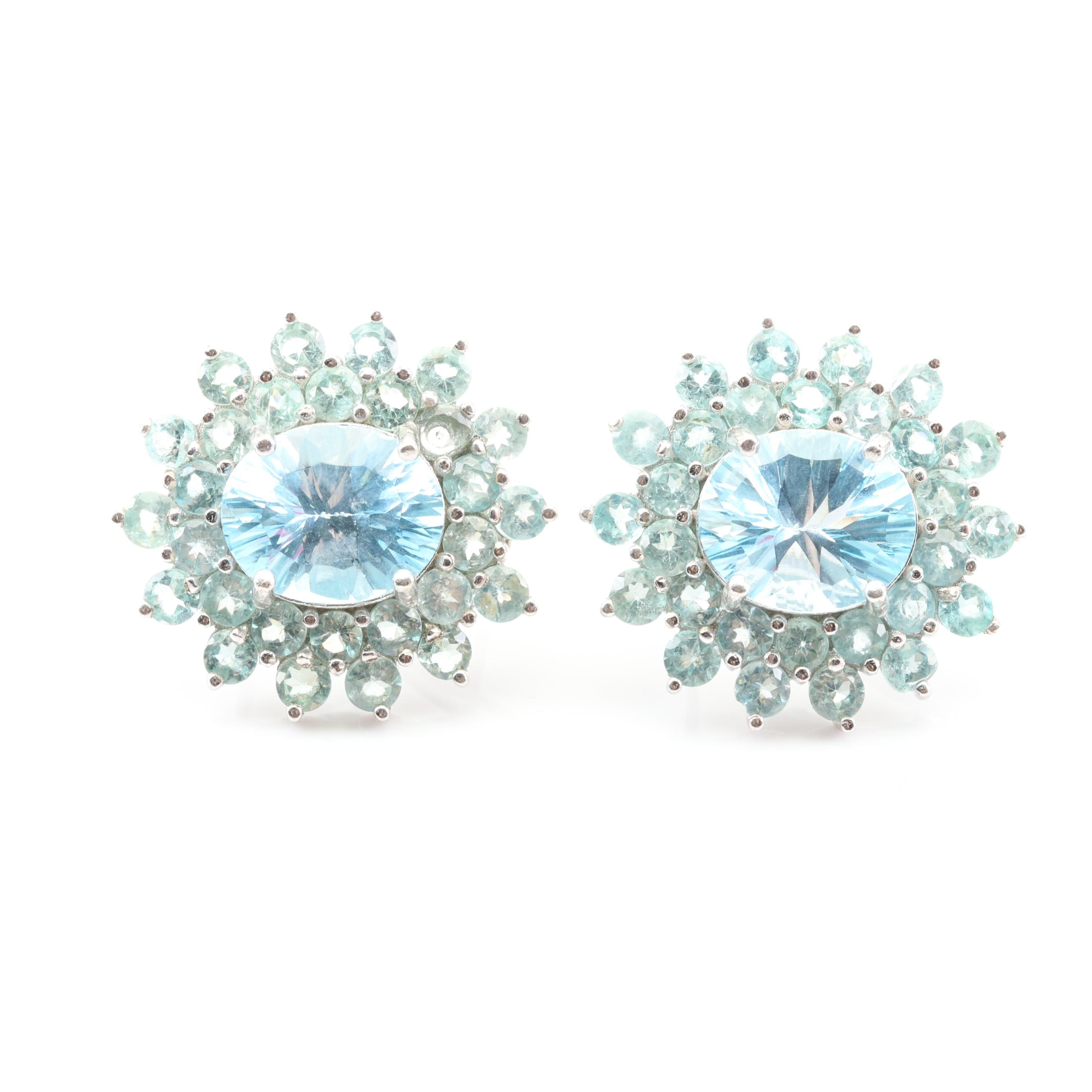 Sterling Silver 11.08 CTW Blue Topaz and 4.48 CTW Apatite Earrings