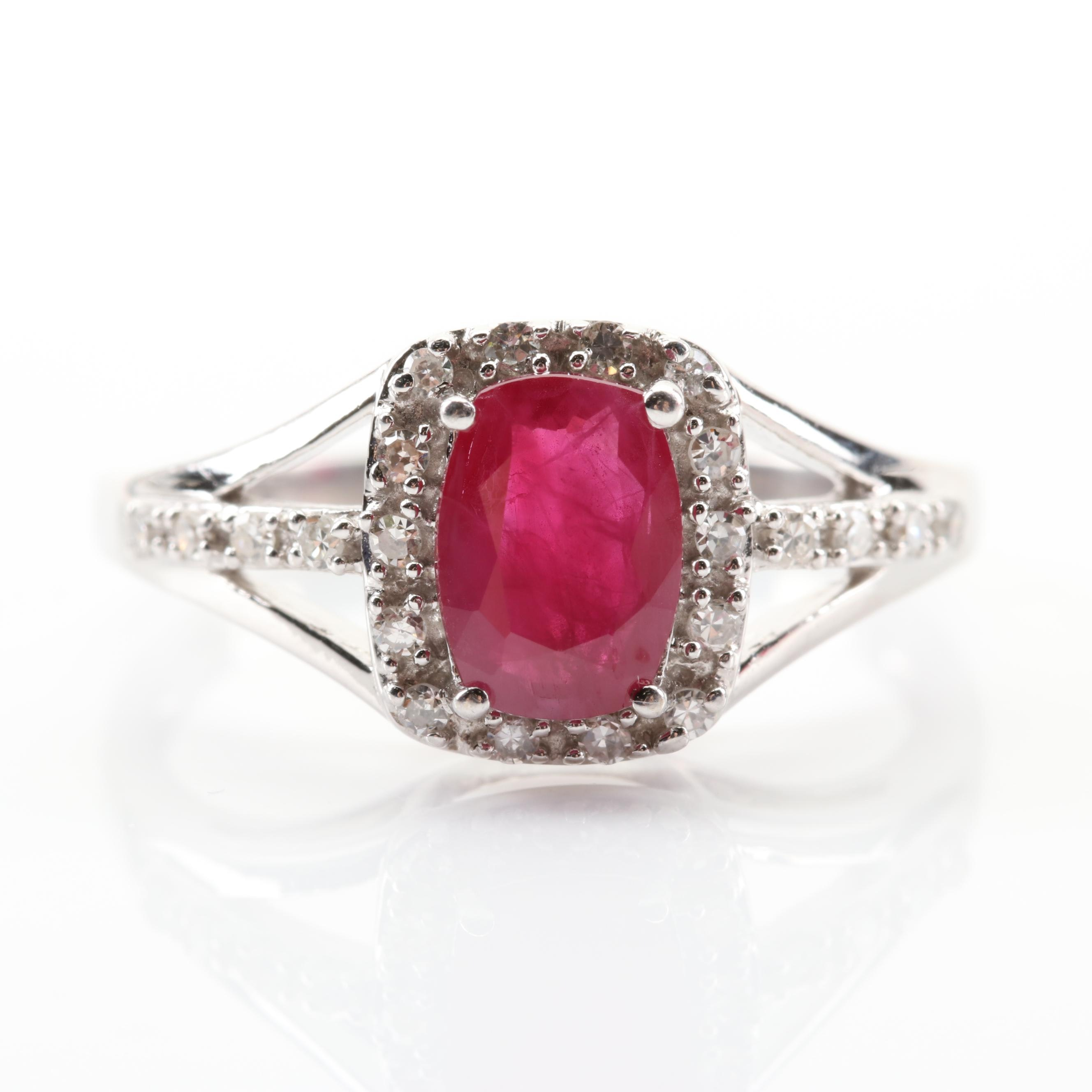 14K White Gold 1.02 CT Ruby and Diamond Ring