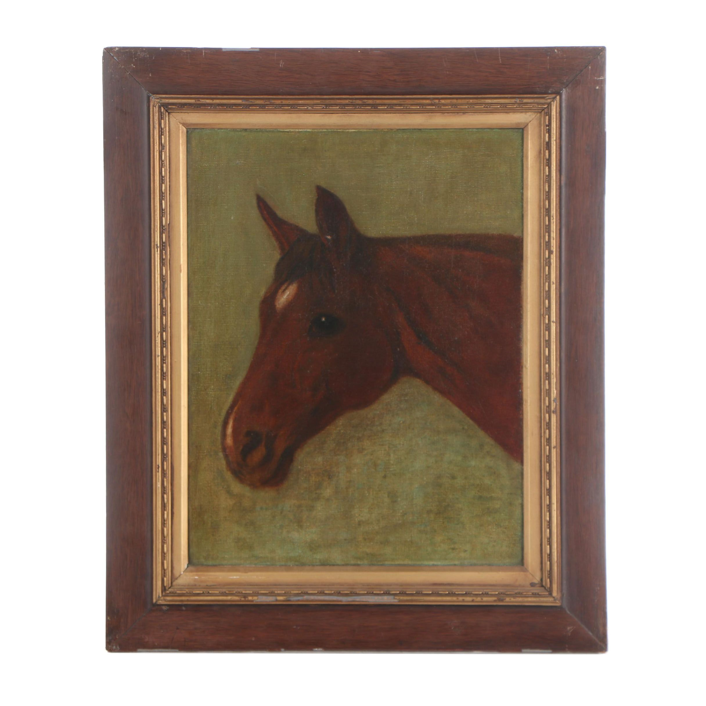 """Oil Painting Attributed to G. B. Rosher  """"Horse"""""""