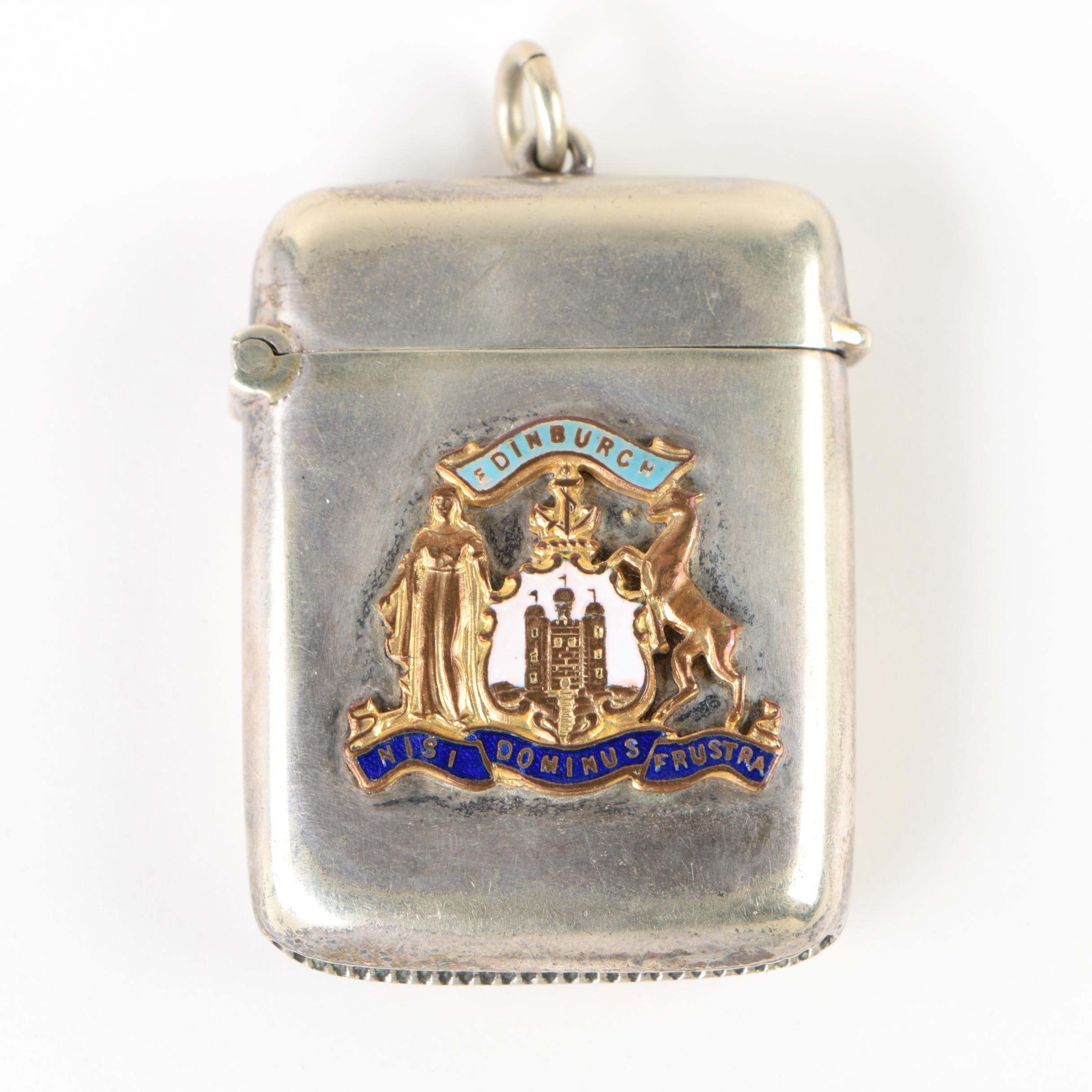 Joseph Cook & Son Silver-Plated Vesta Case with Edinburgh Coat of Arms Emblem