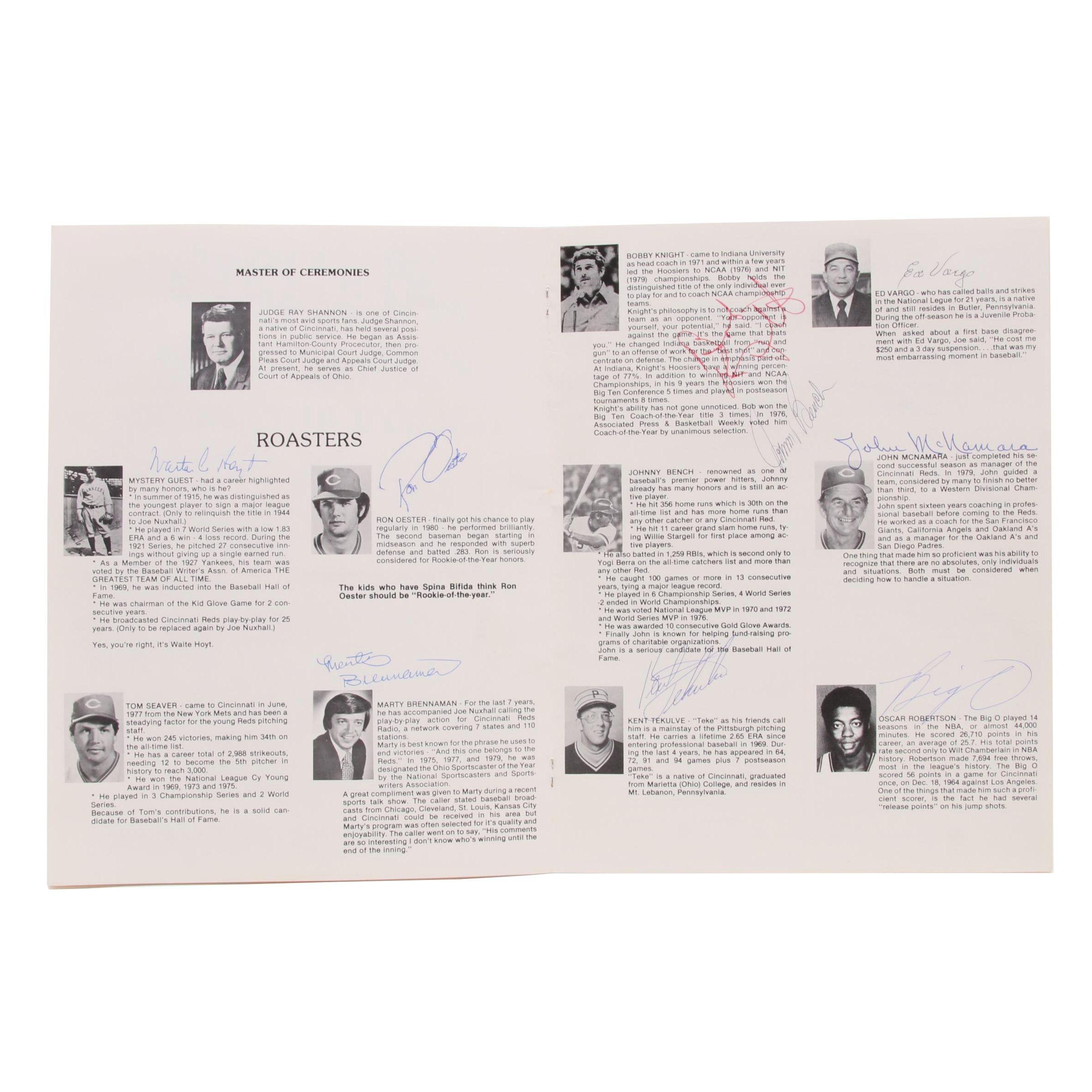 1980 Joe Nuxhall Roast Program Signed By Hoyt, Bench, Robertson, Knight