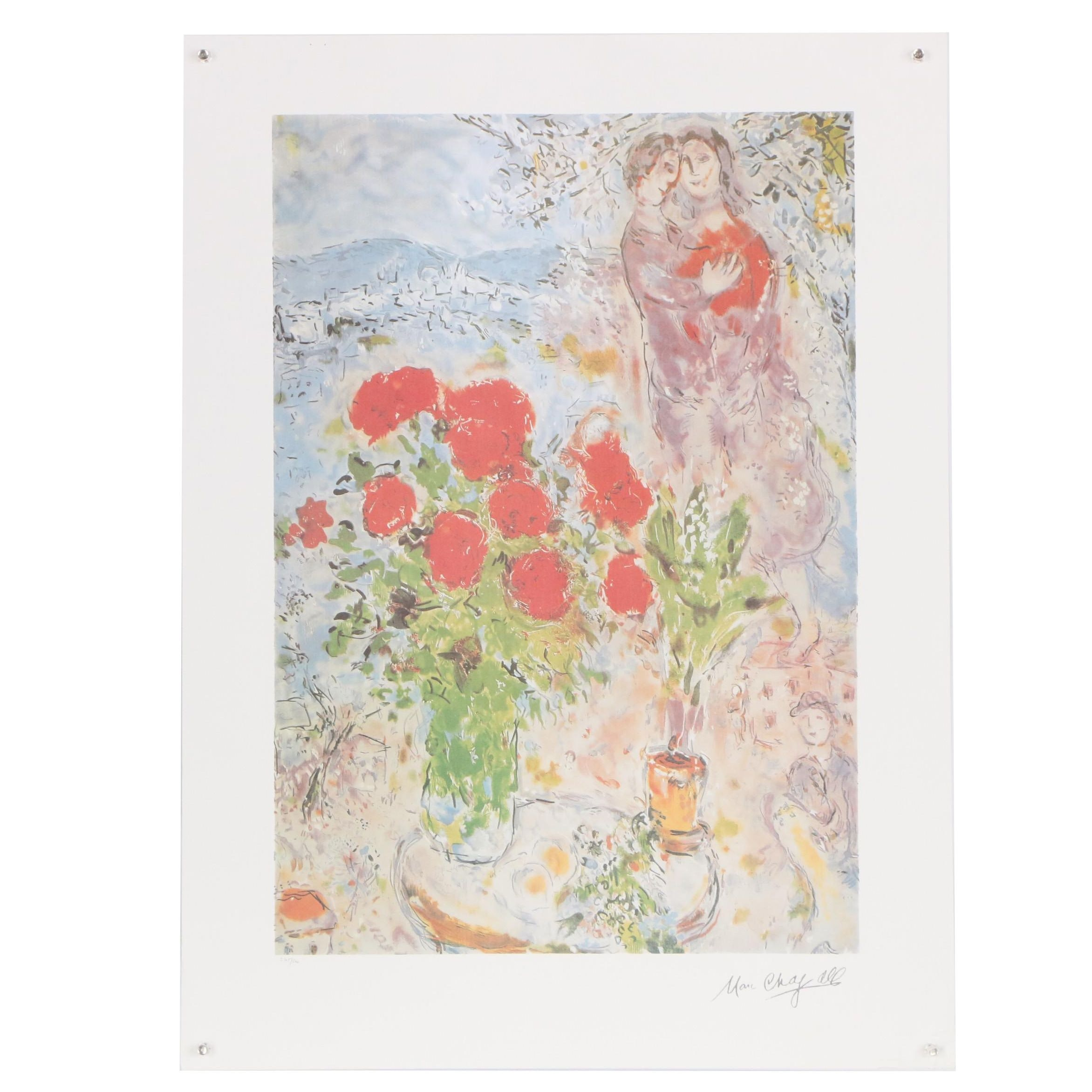 "Offset Lithograph after Marc Chagall ""Red Bouquet with Lovers"""