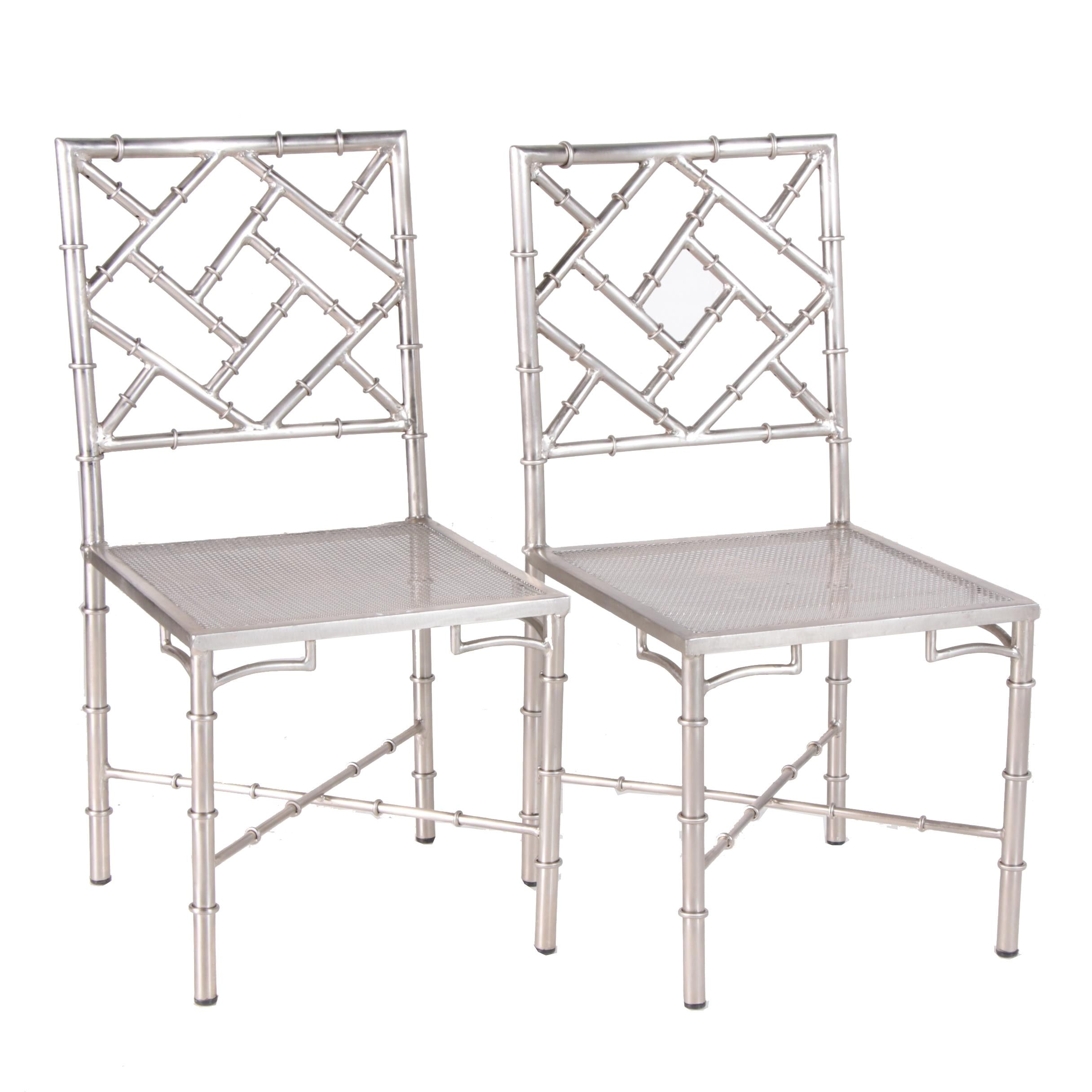 "Chinese Chippendale Style ""Bamboo"" Silver Tone Metal Side Chairs, 21st Century"