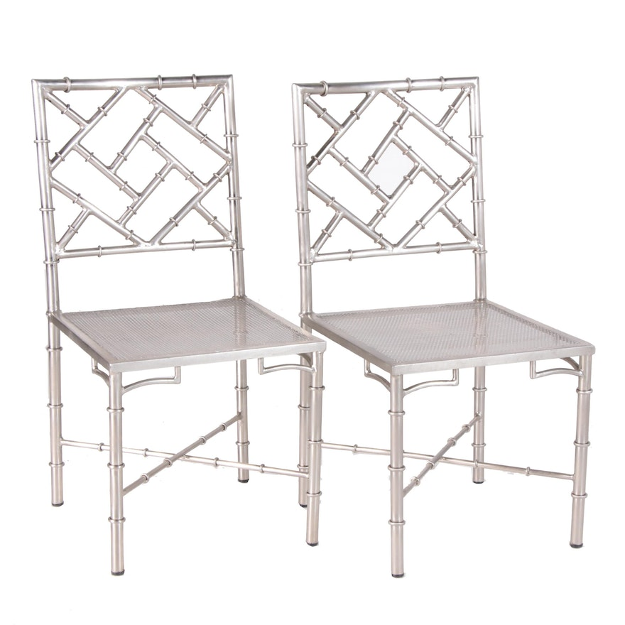 Chinese Chippendale Style Bamboo Silver Tone Metal Side Chairs