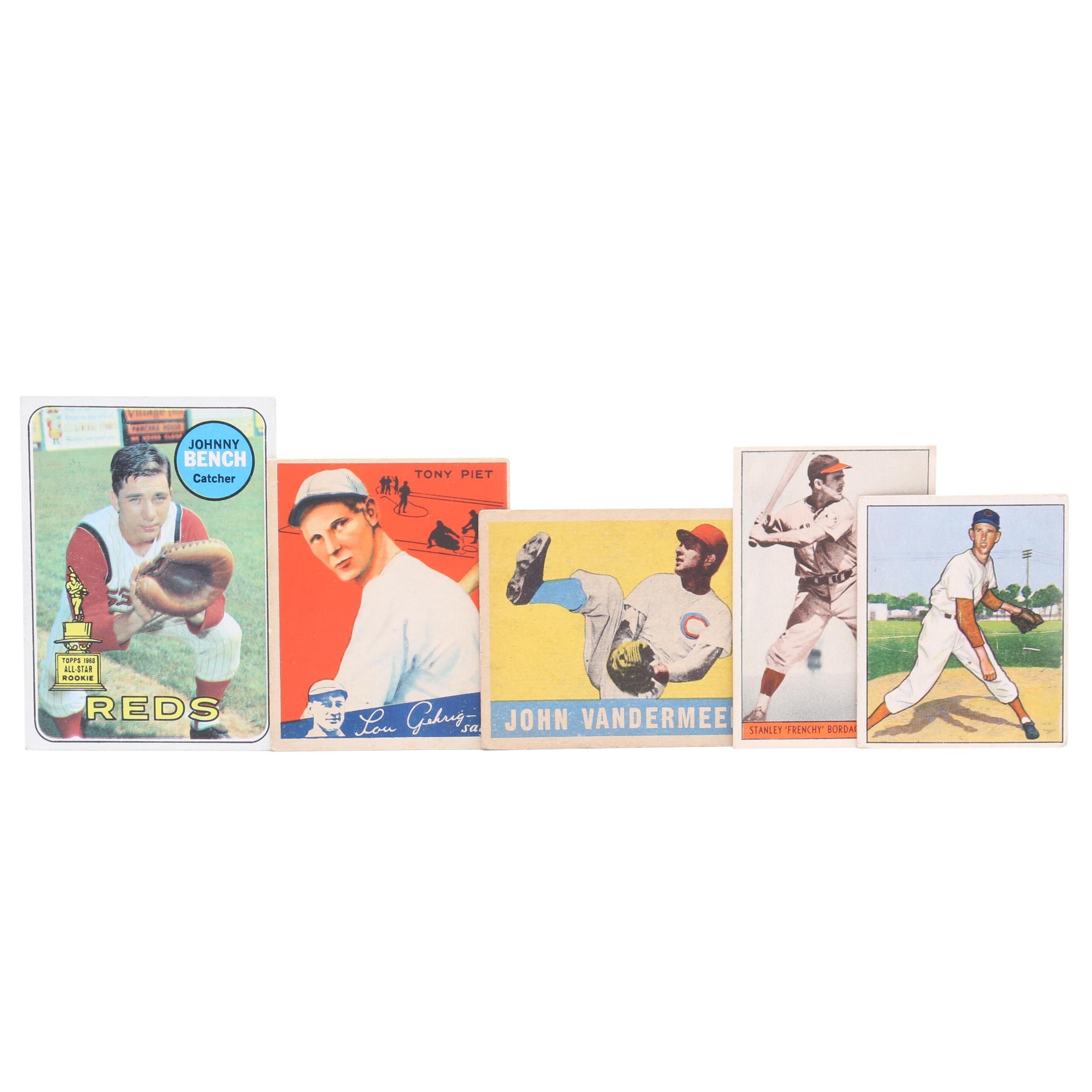 Five 1930s-1960s Cincinnati Reds Star Baseball Cards