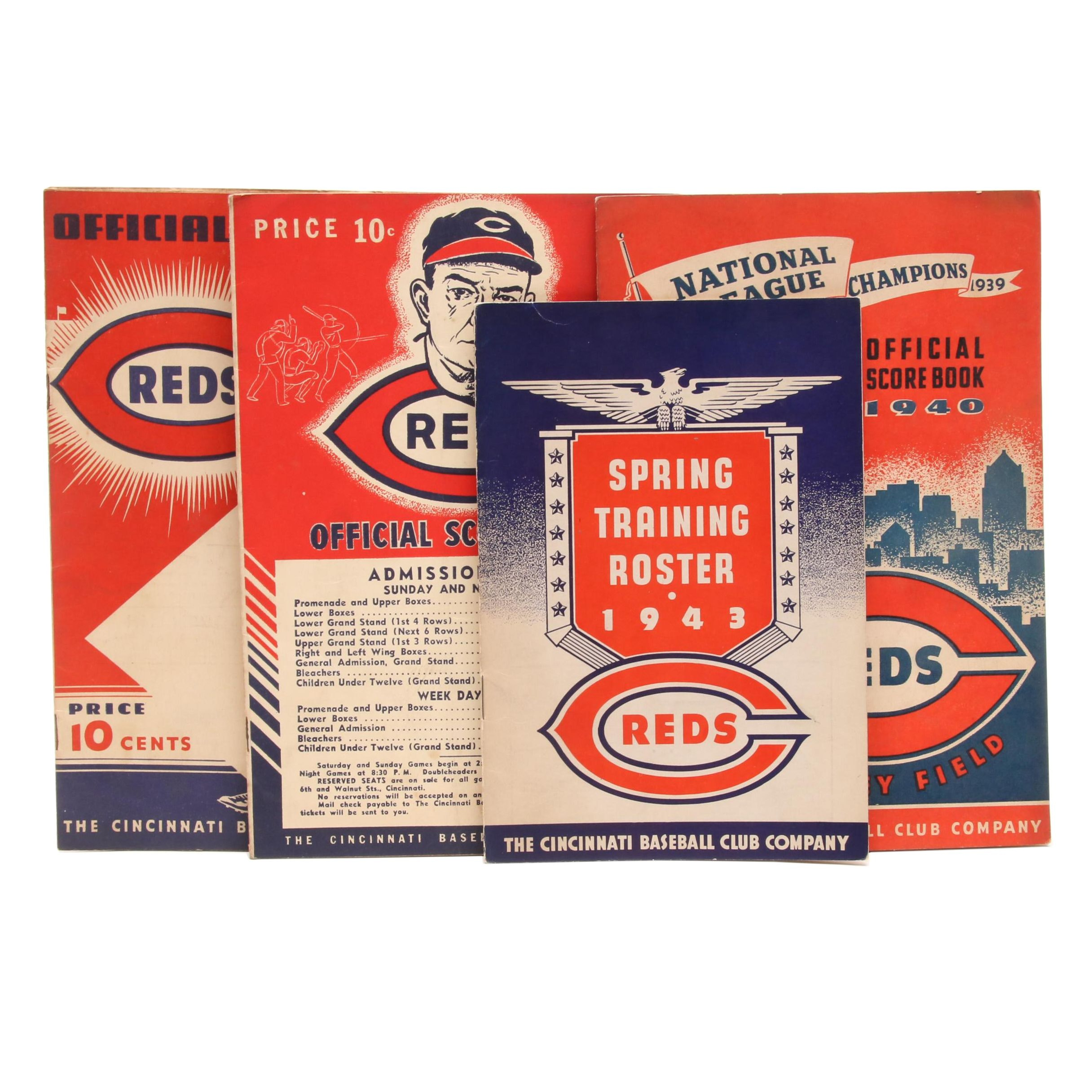 Four 1930s-1940s Cincinnati Reds Scorebooks and Roster