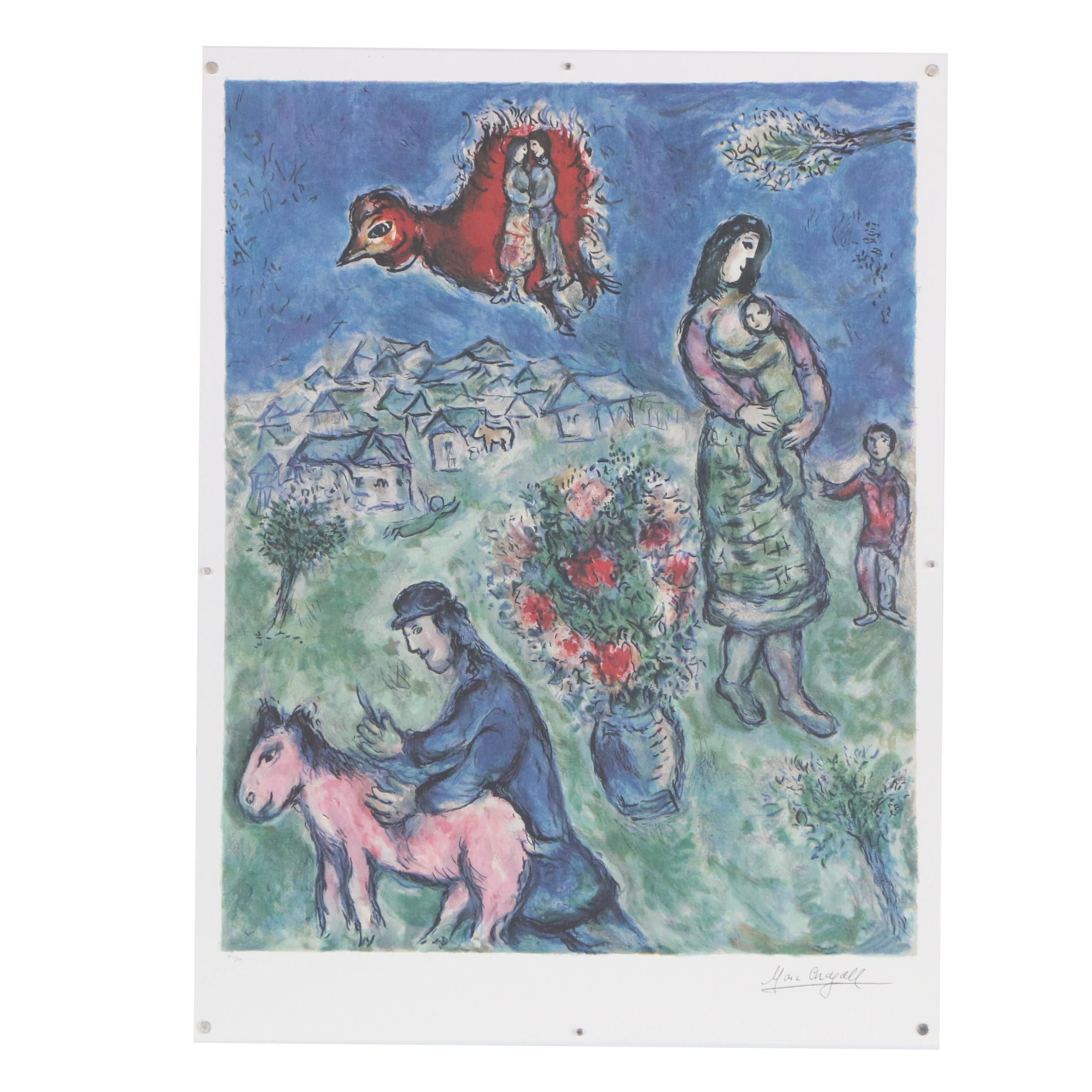 "Offset Lithograph after Marc Chagall ""Sur la Route du Village"""