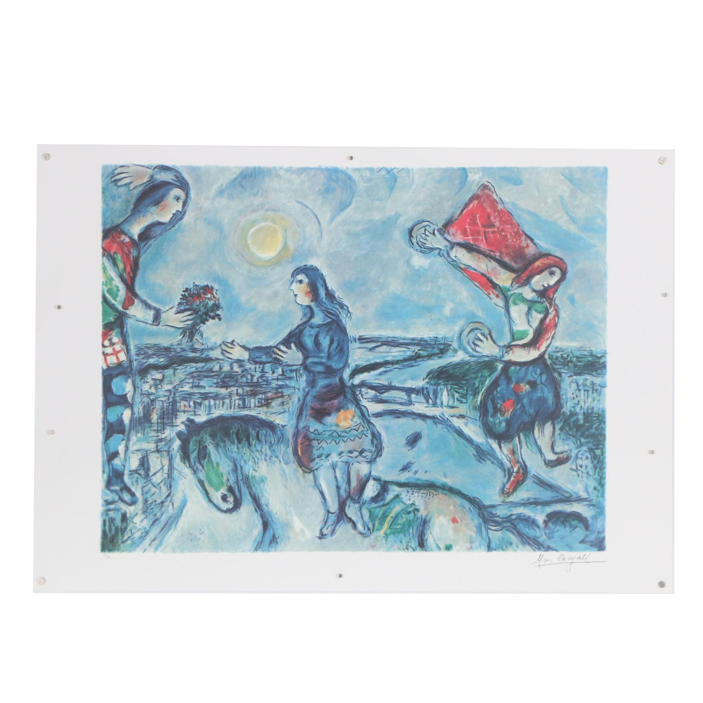 "Offset Lithograph after Marc Chagall ""Lovers Over Paris"""