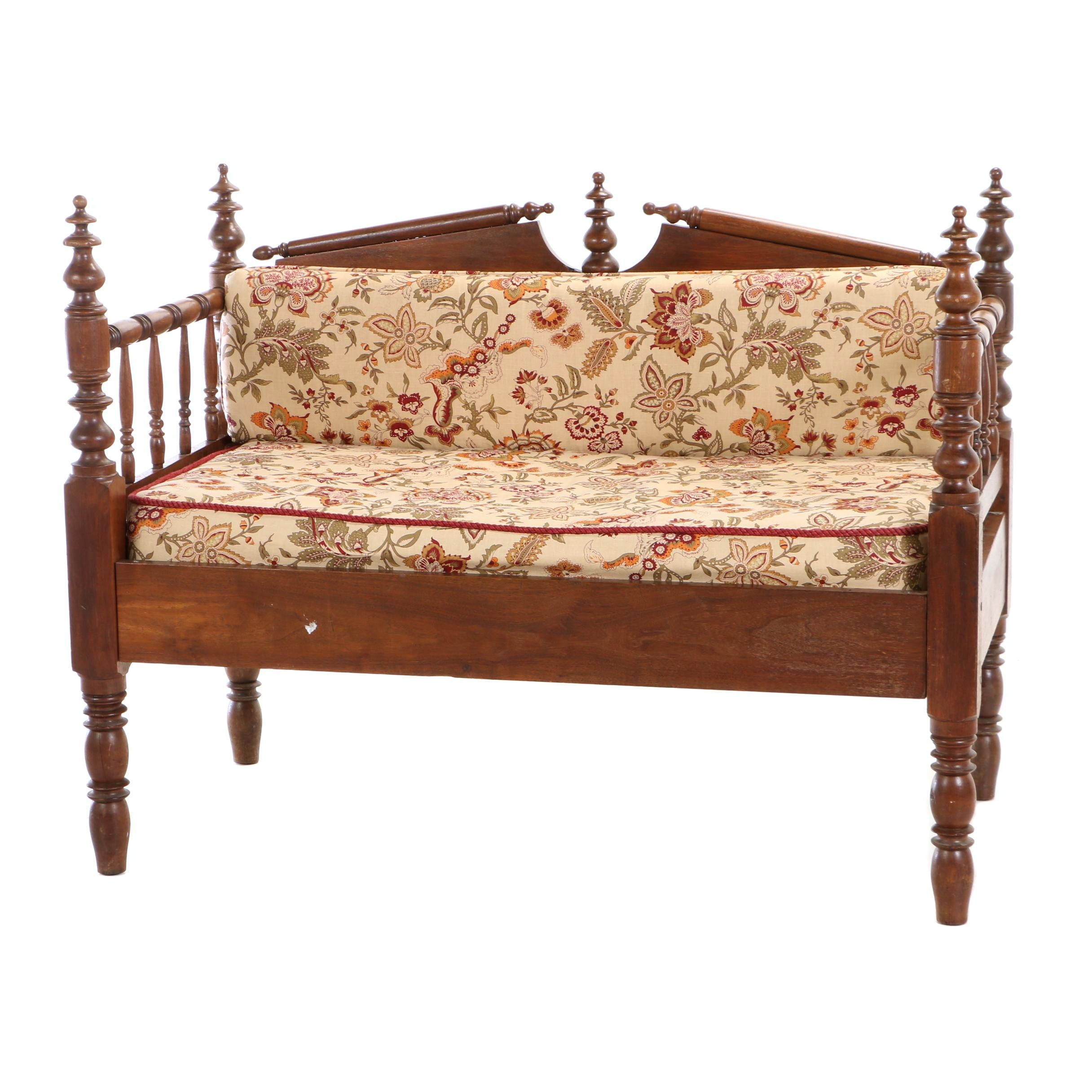 Custom-Made Walnut Settee from Victorian Spool Bed, Late 19th Century and Later