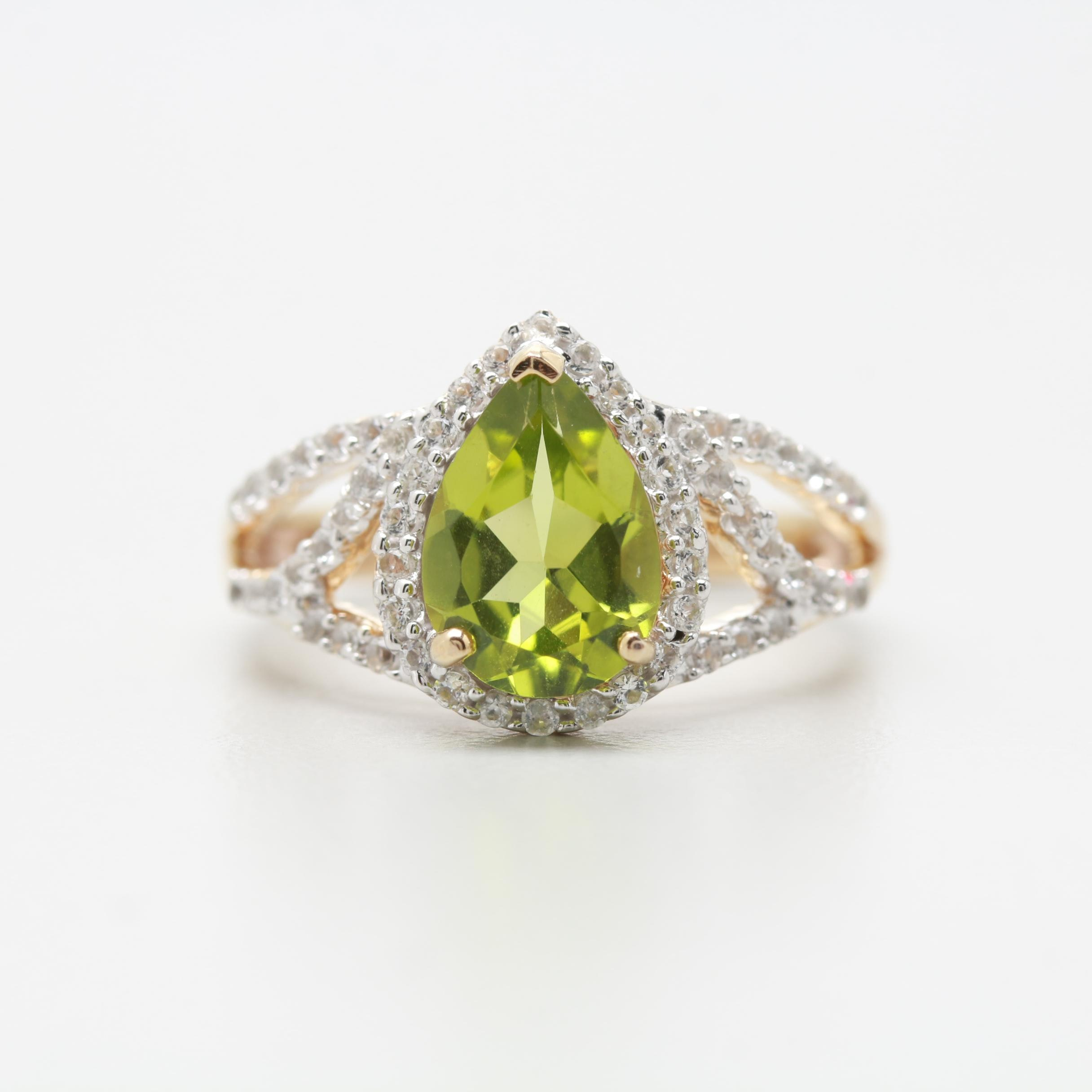 Gold Wash on Sterling Sliver Peridot and White Topaz Ring