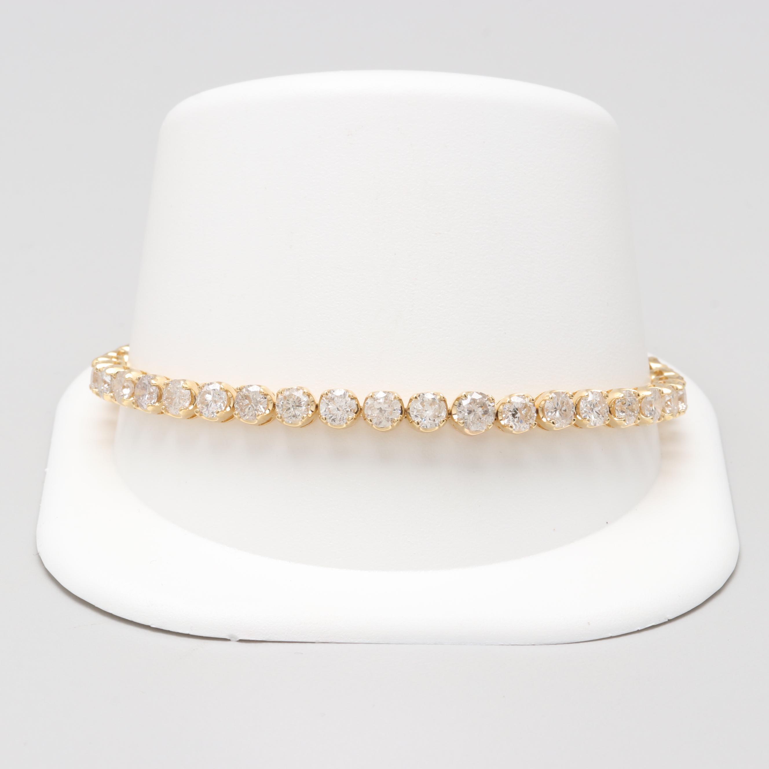 18K Yellow Gold 8.04 CTW Diamond Tennis Bracelet