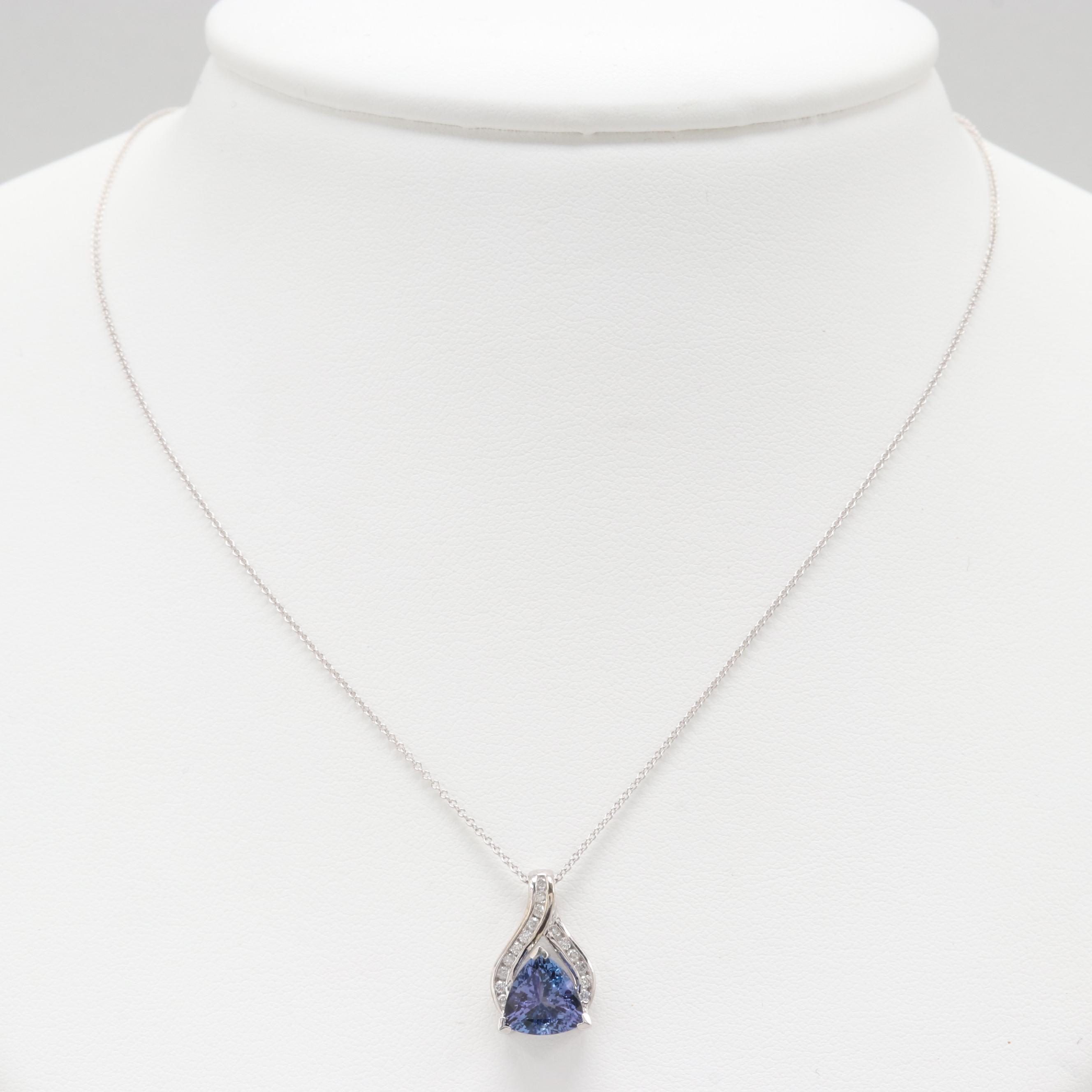 14K White Gold Tanzanite and Diamond Pendant Necklace