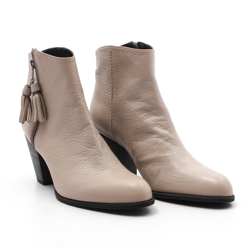 Stuart Weitzman Taupe Leather Booties