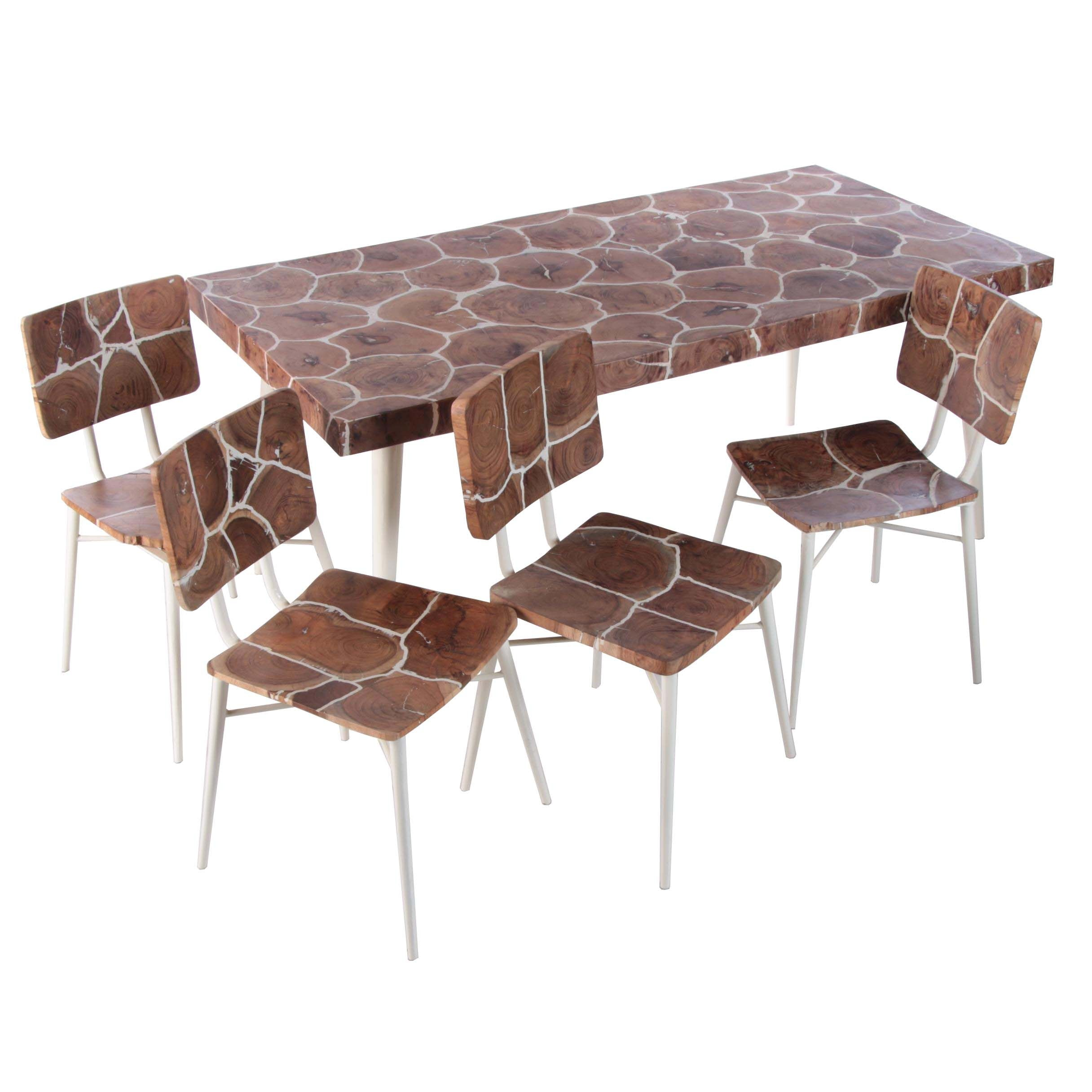 """Organics"" Wood and Enamel Dining Table and Chairs, 21st Century"