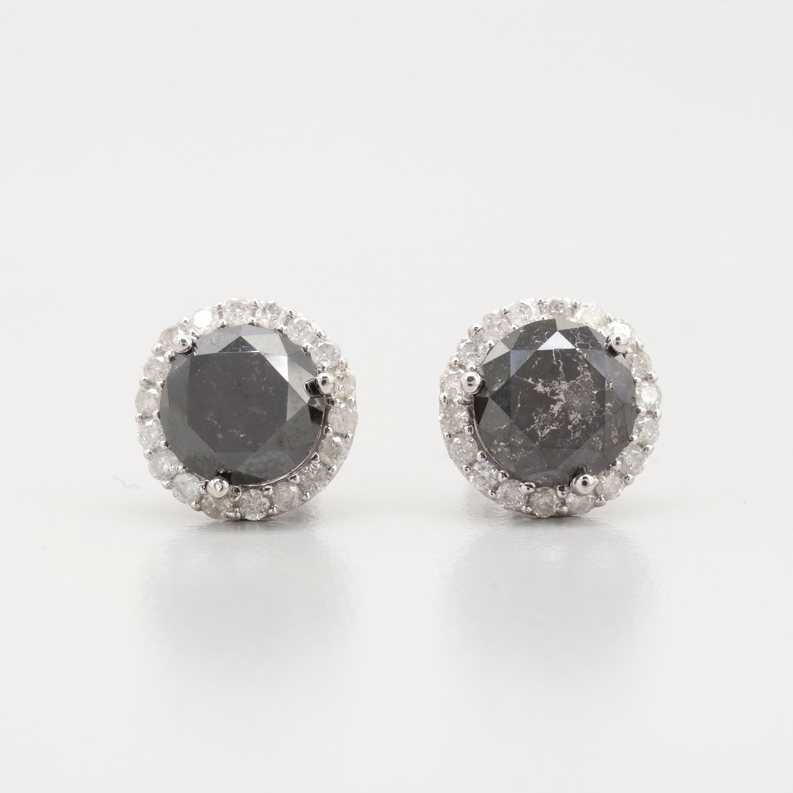 14K White Gold 3.65 CTW Diamond Stud Earrings