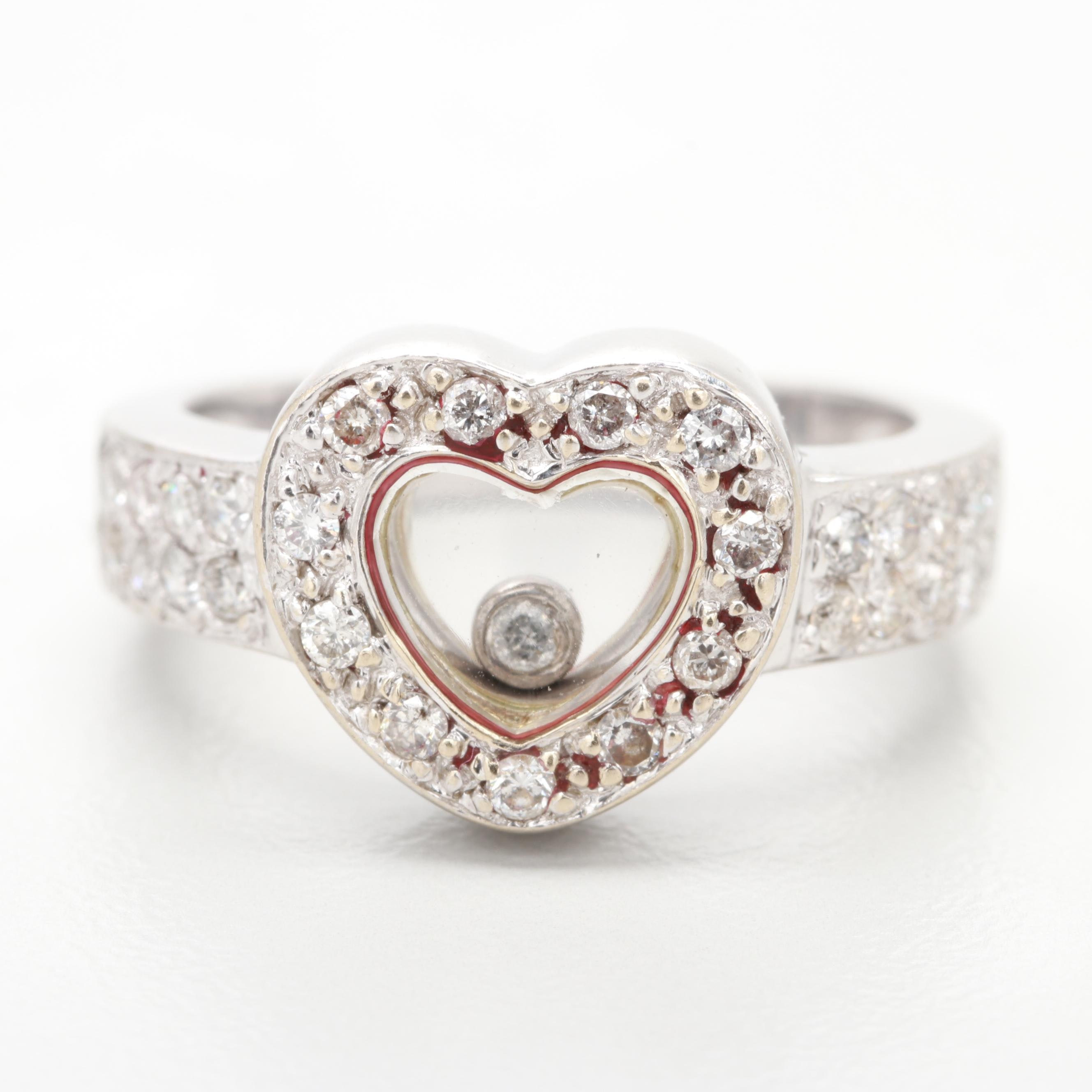 18K White Gold Diamond Heart Ring