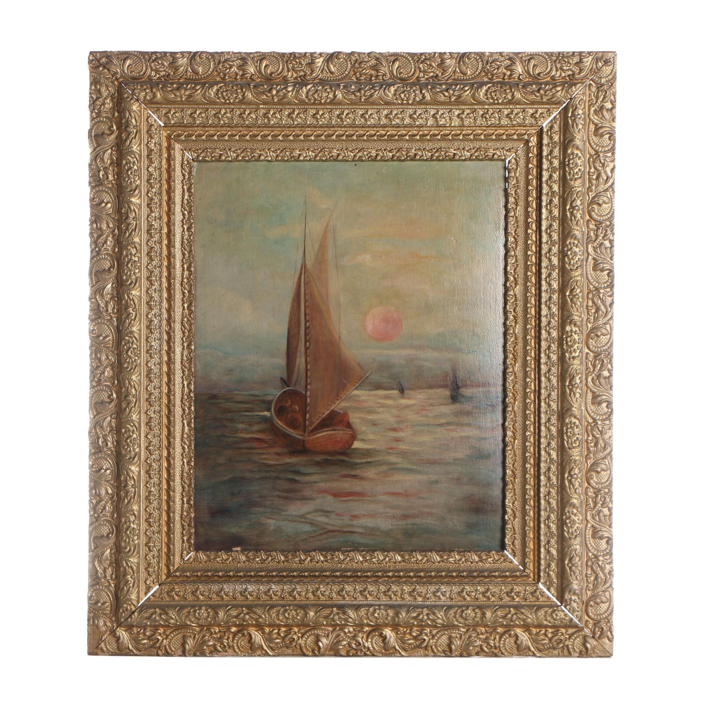 Antique Oil Painting of a Sailboat