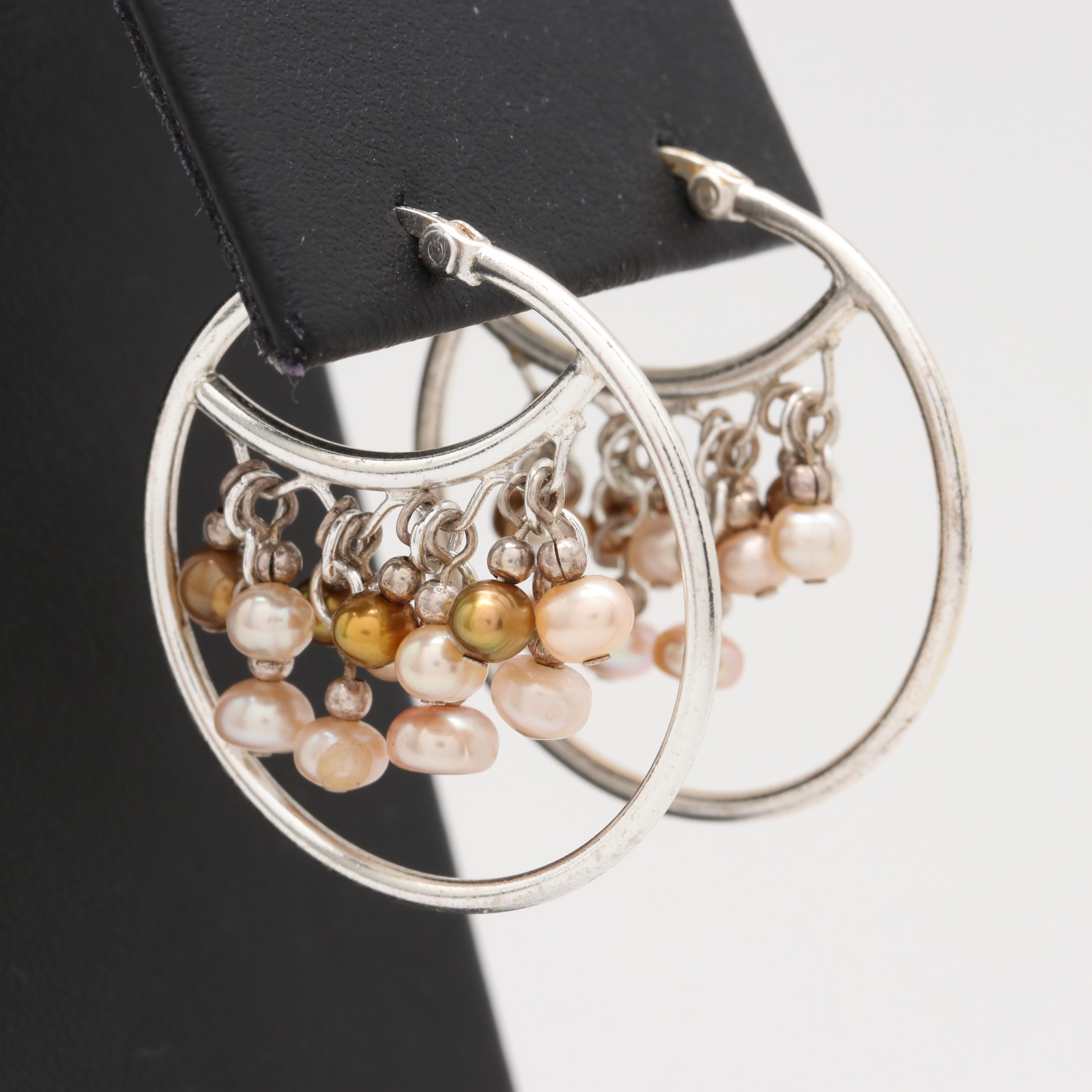 Sterling Silver Cultured Pearl Hoop Earrings