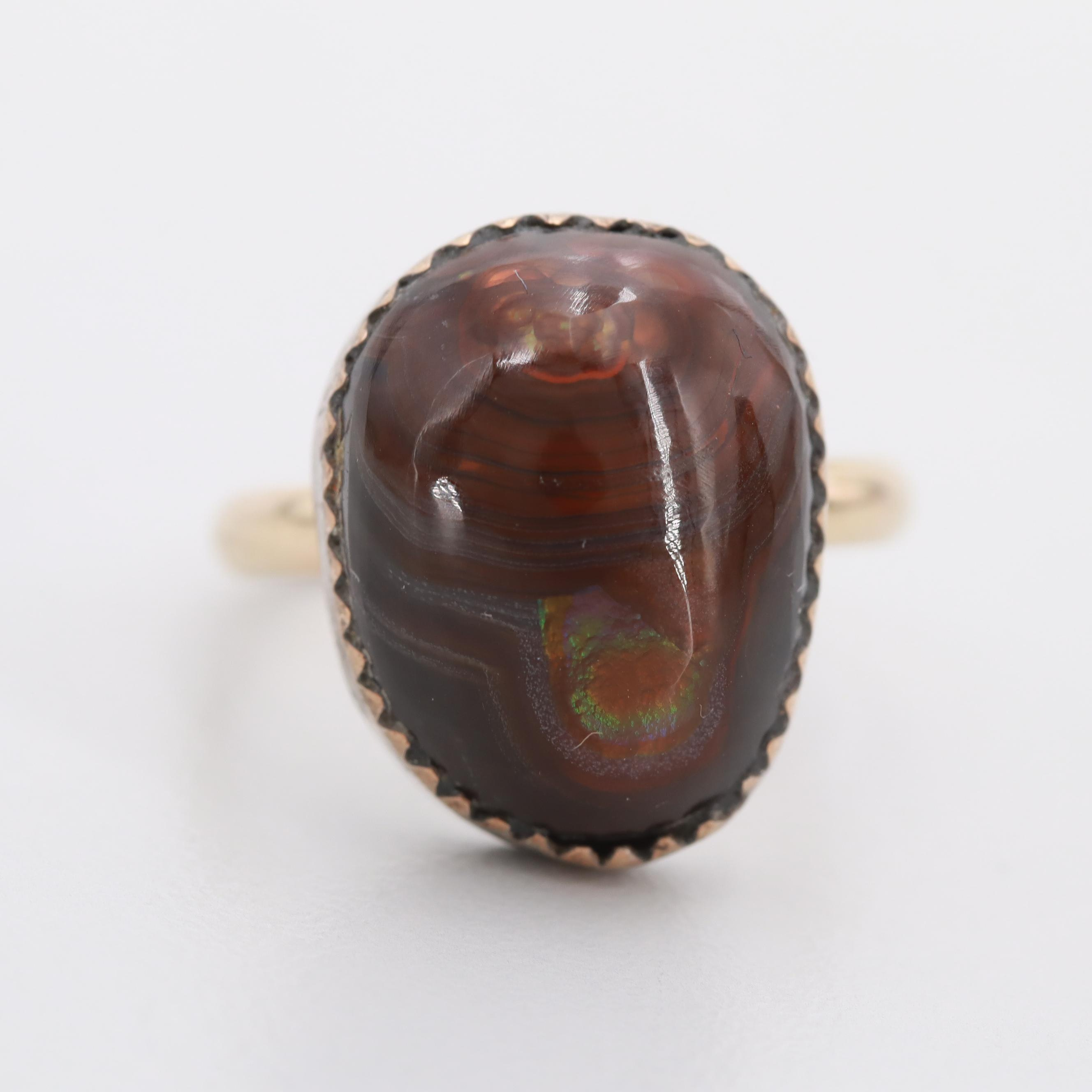 10K Yellow Gold Fire Agate Ring with Silver Tone Bezel