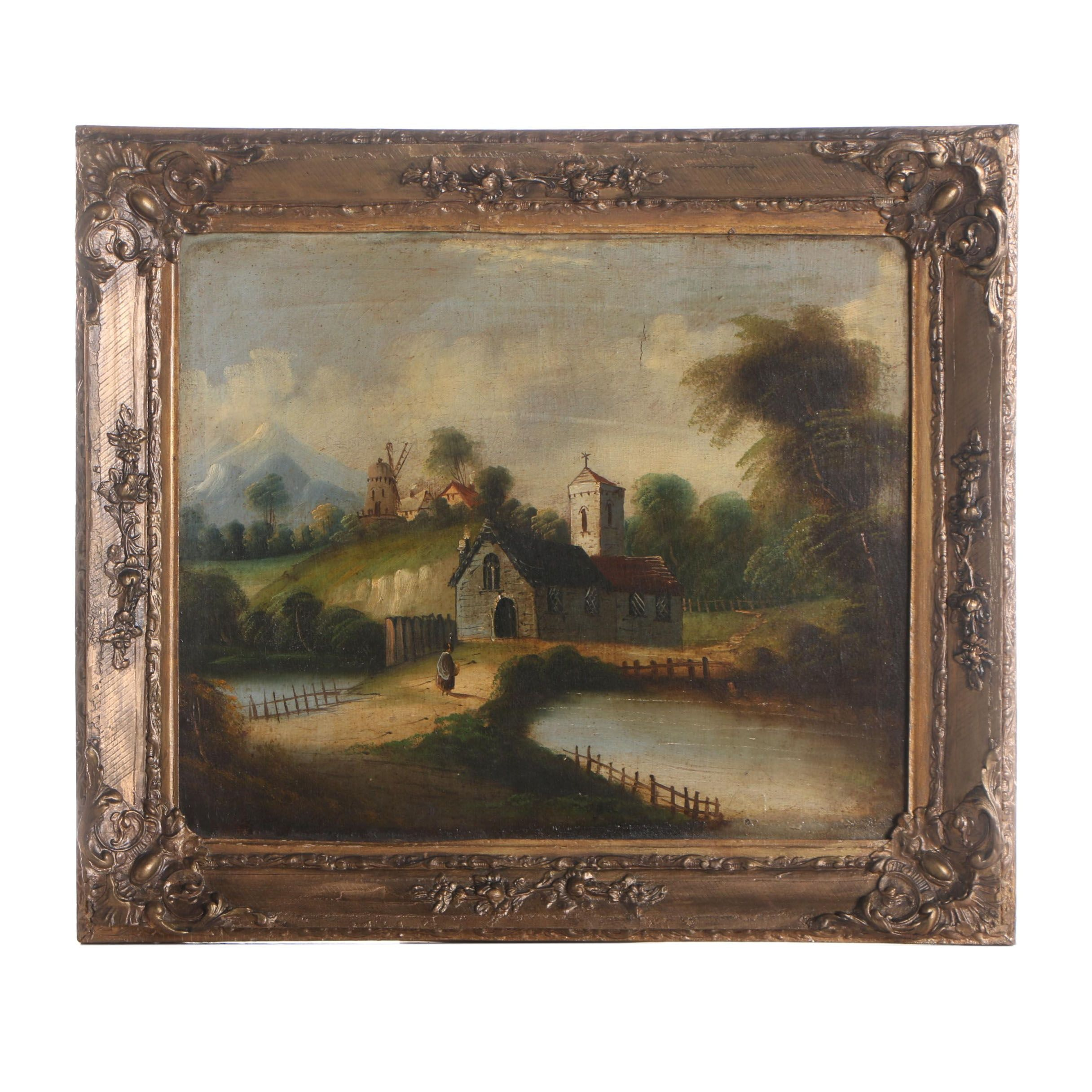 Mid 19th Century Oil Painting of European Landscape