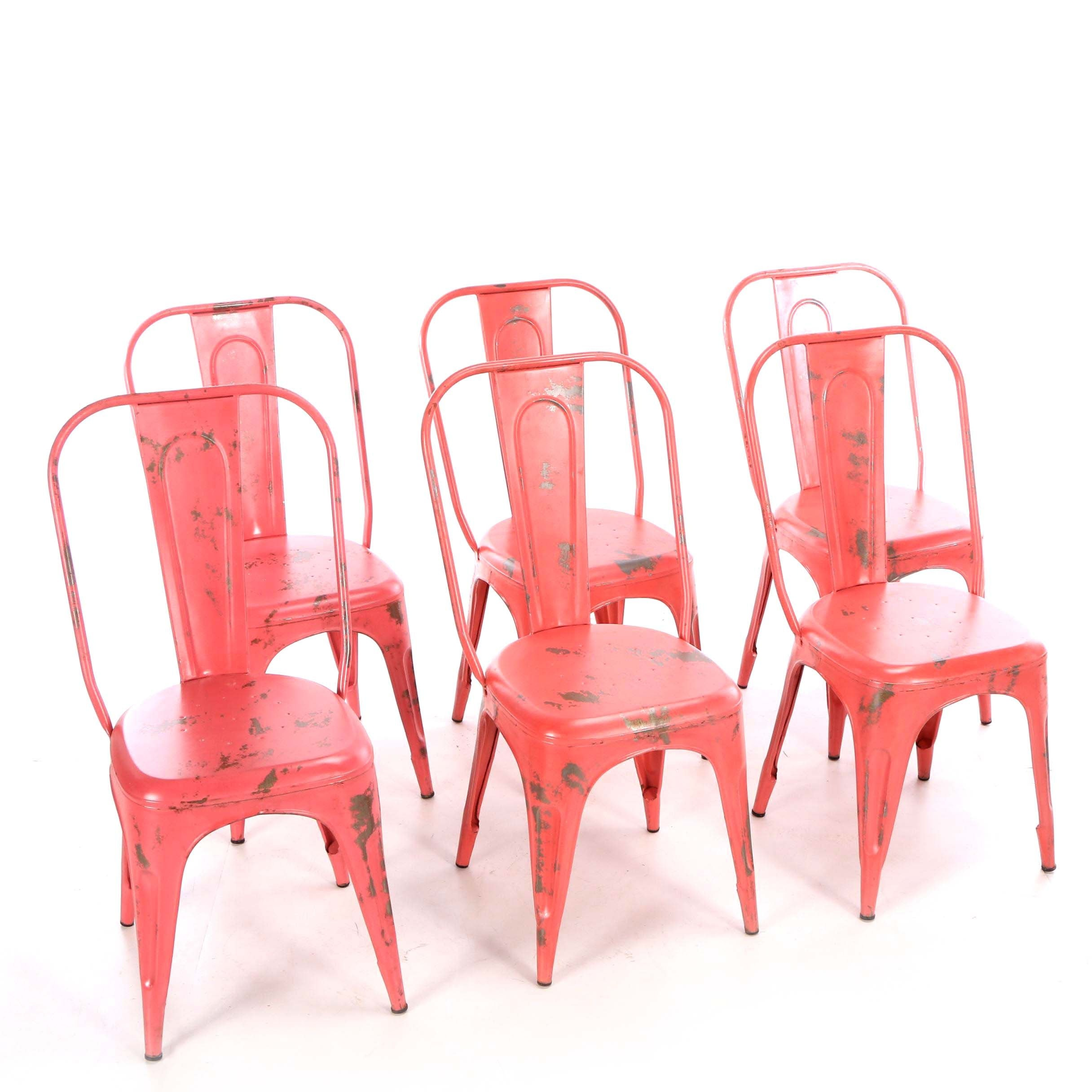 Industrial Style Painted Metal Side Chairs, Mid-20th Century