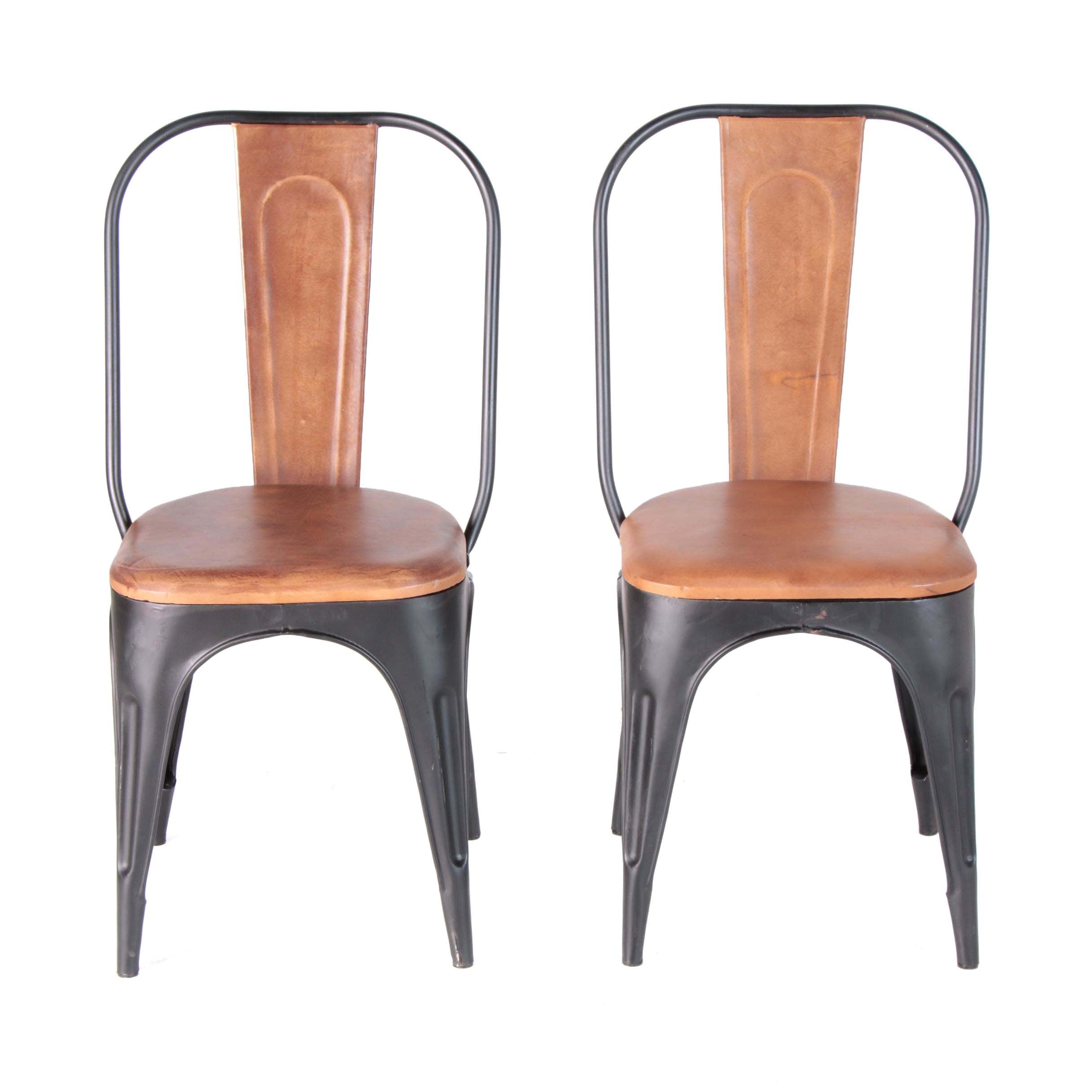 "Industrial Style ""Tackshop"" Leather and Metal Dining Chairs"