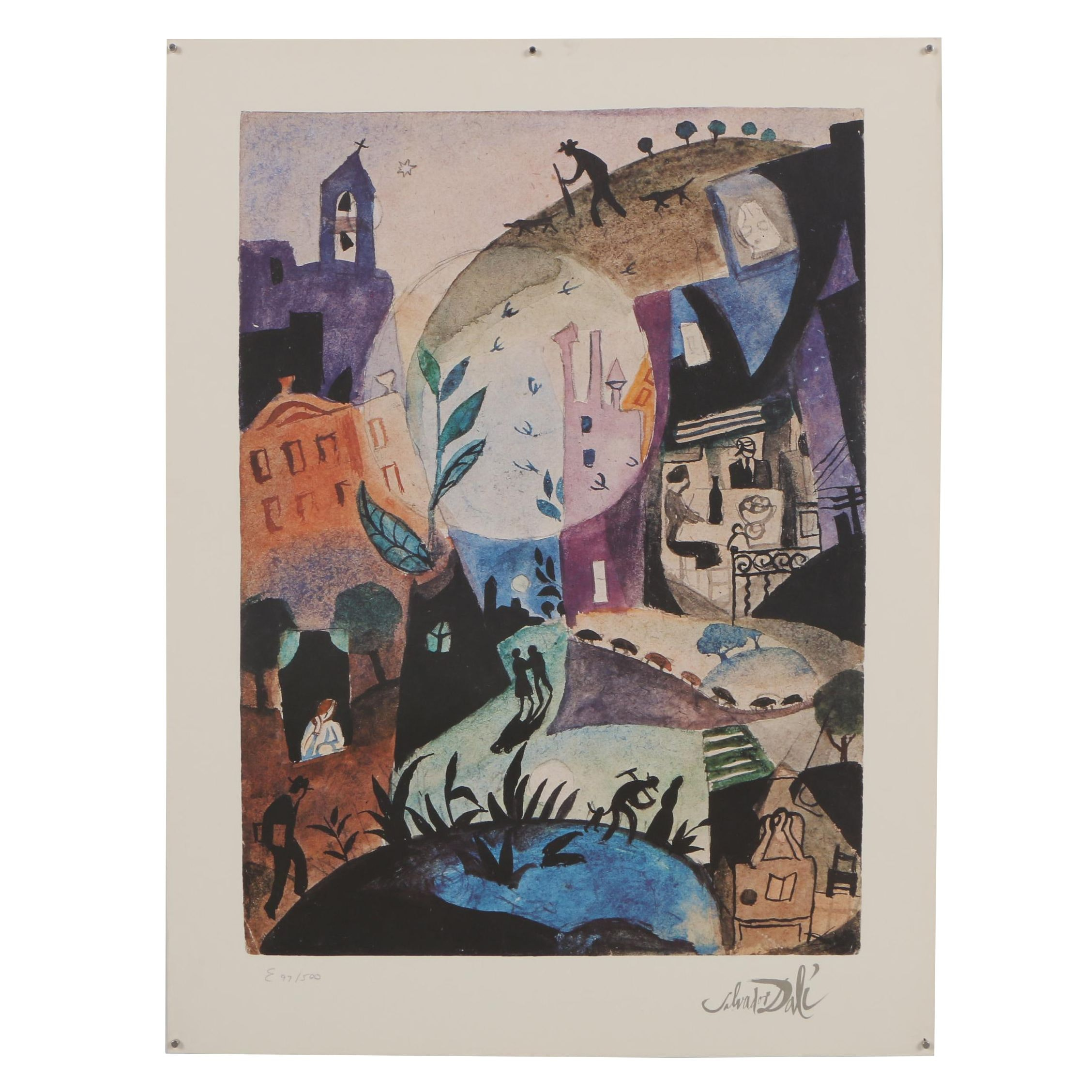 """Offset Lithograph after Salvador Dali """"Nightly Promenader"""""""