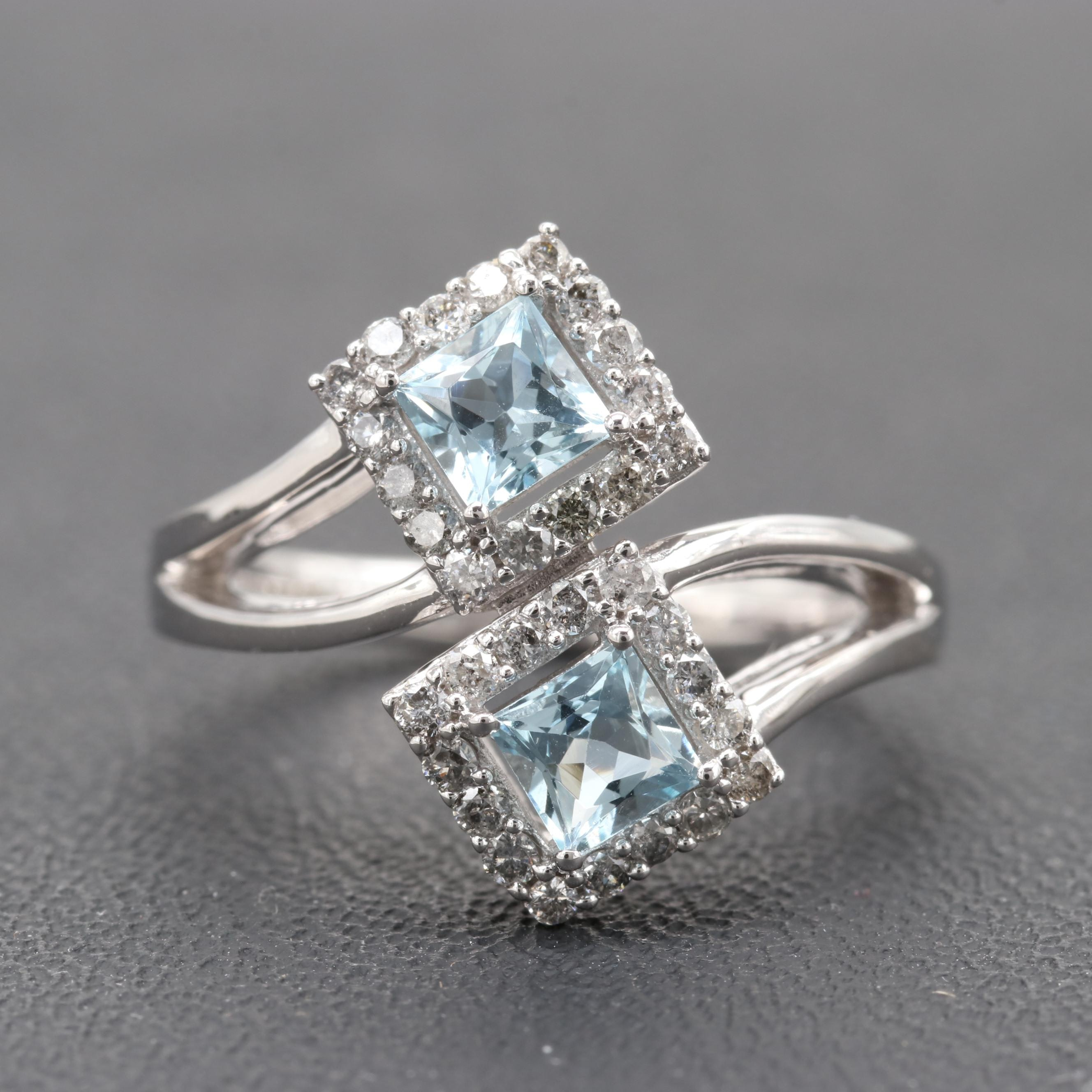 14K White Gold Aquamarine and Diamond Bypass Ring