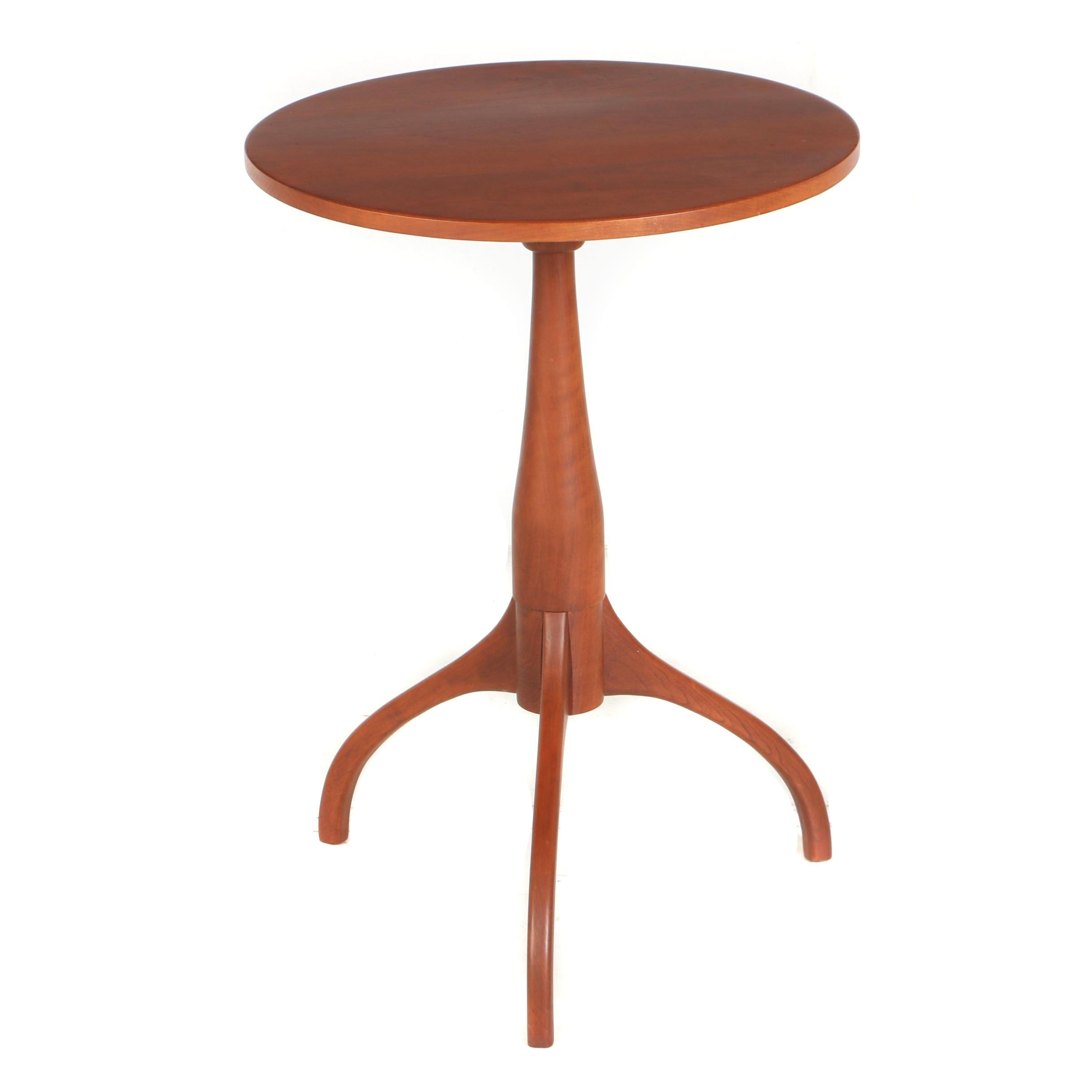 Contemporary Federal Style Cherrywood Bench-Made Tripod Table