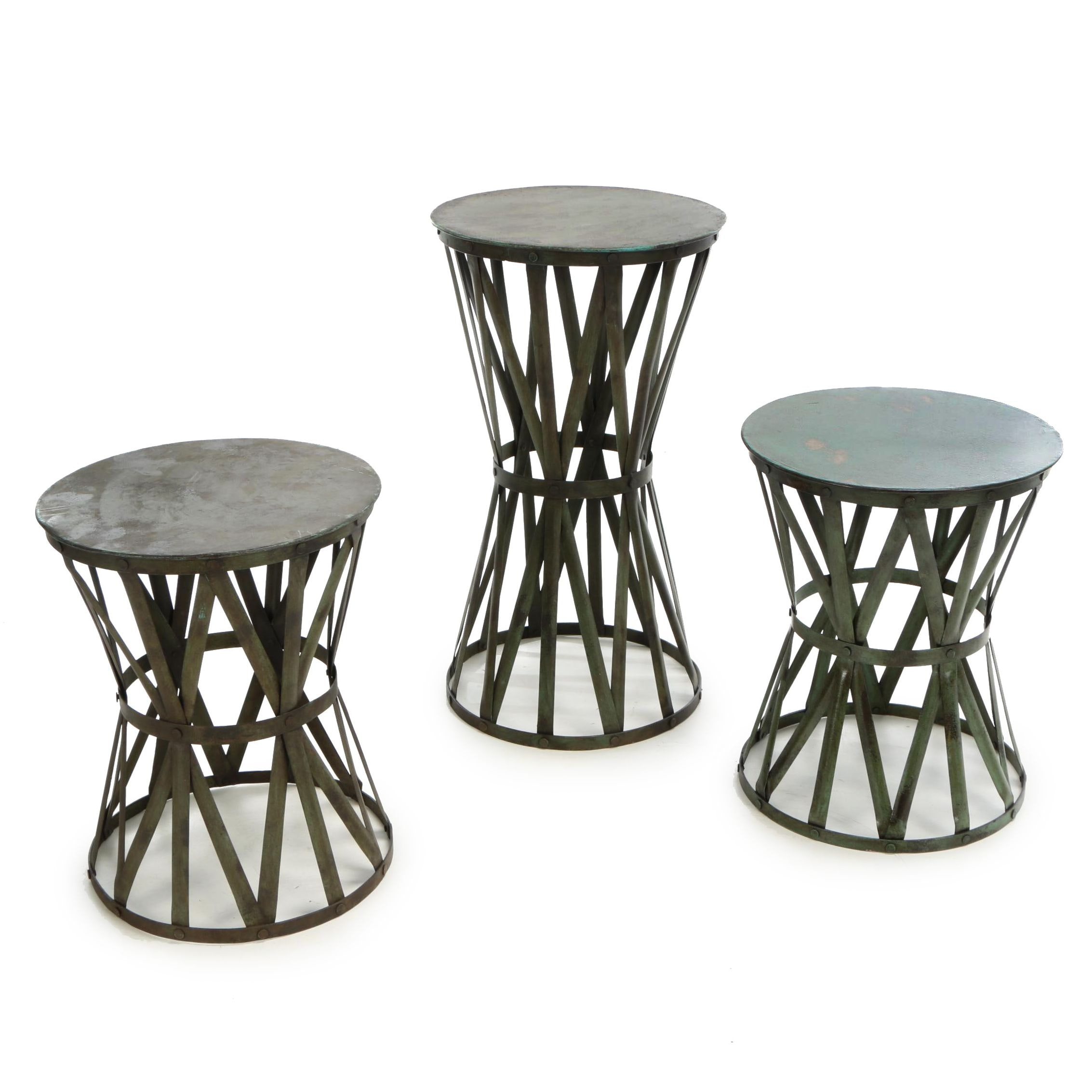 "Industrial Style ""Drum"" Painted Metal Stools and Side Table, 21st Century"