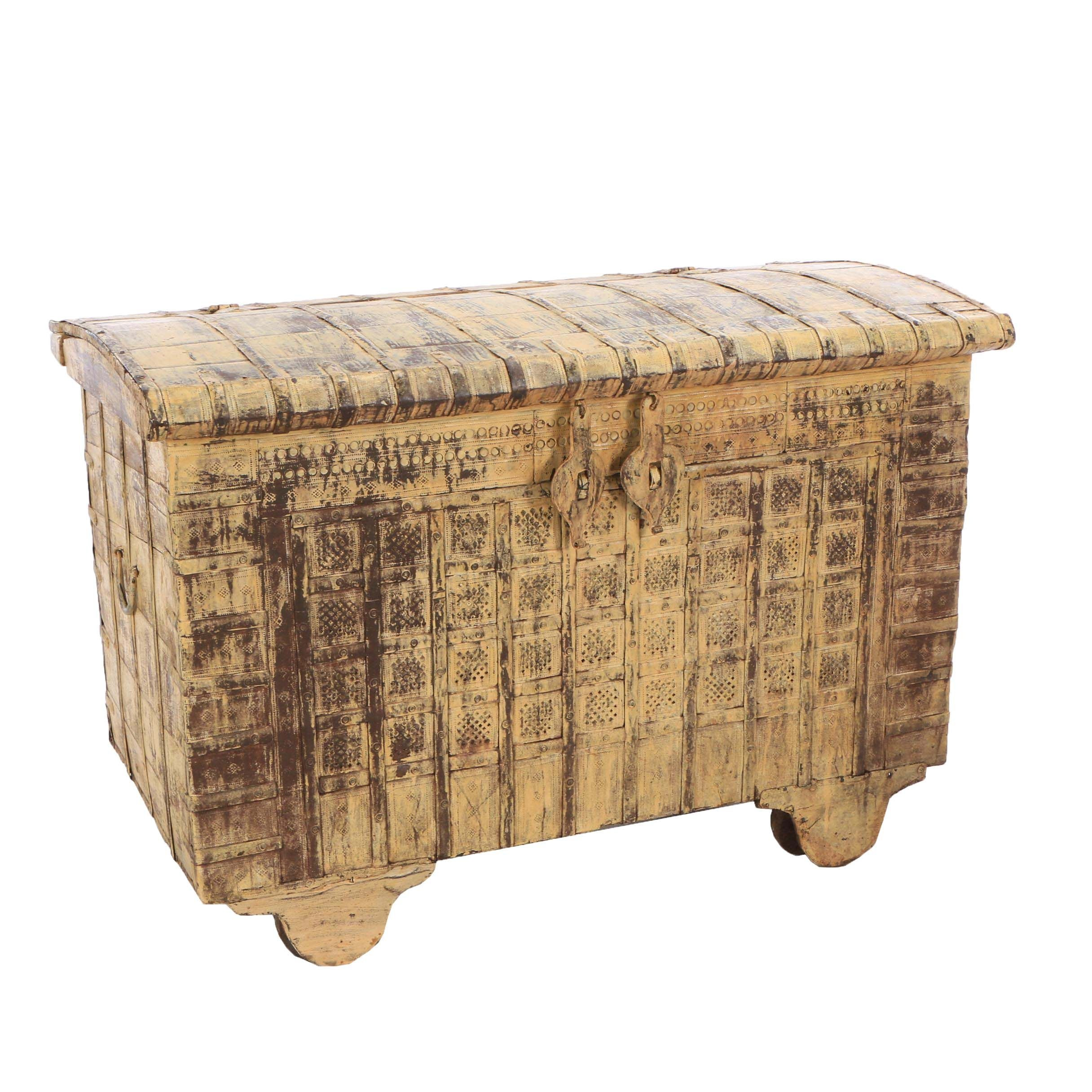 Indian Painted Metal Dowry Chest on Wheels, Mid-20th Century