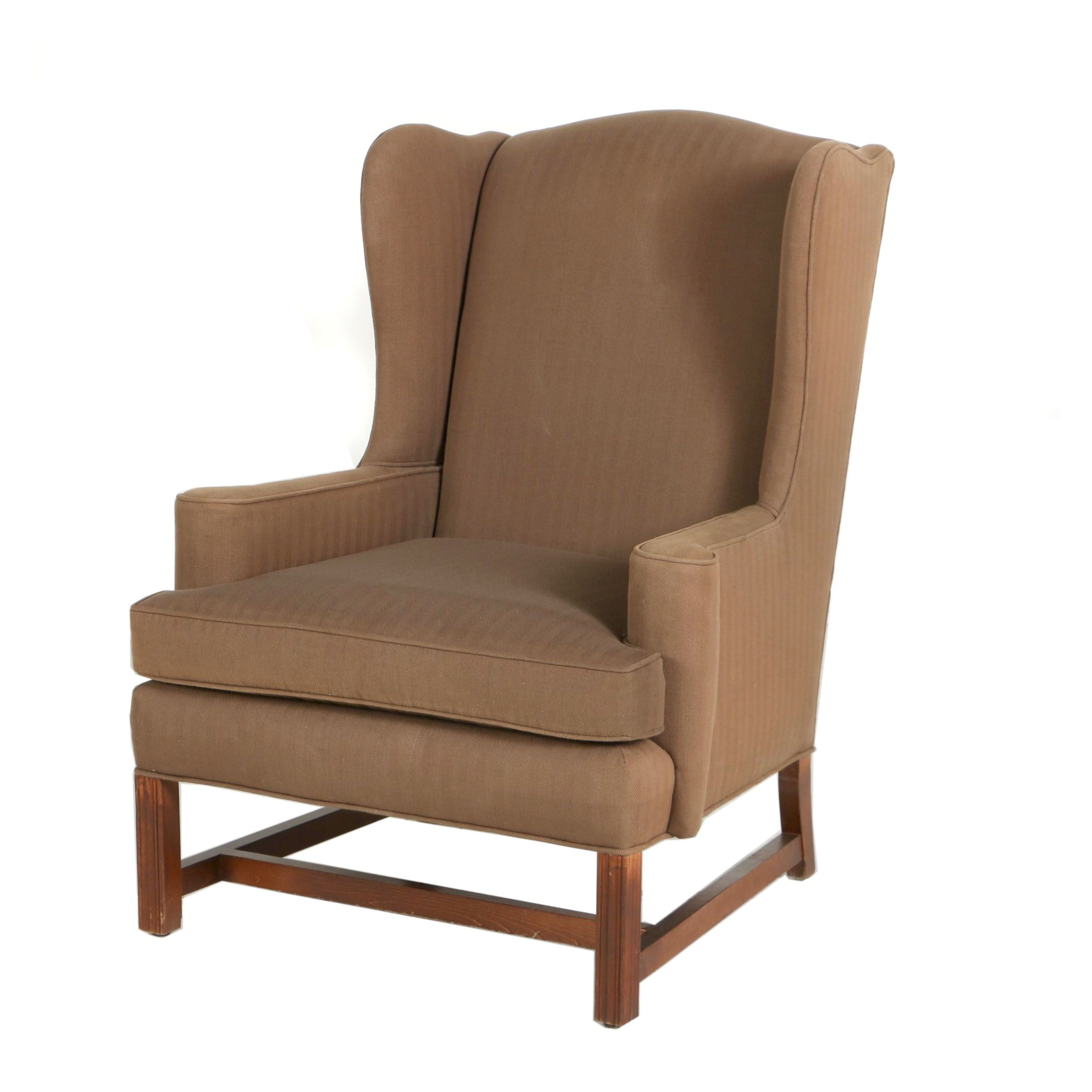 George III Style Mahogany-Stained Wingback Armchair, 20th Century